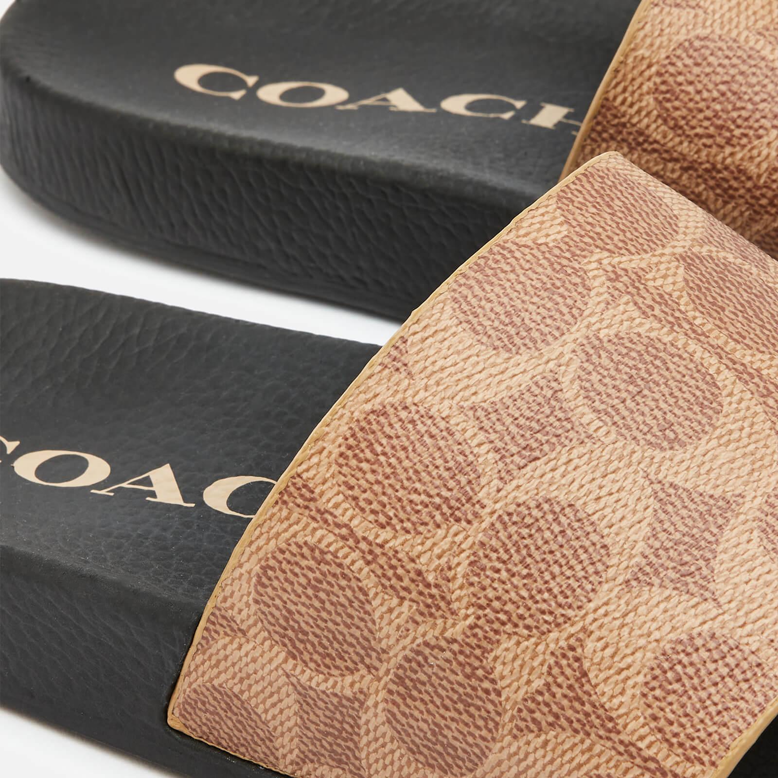 Coach Women's Udele Coated Canvas Slide Sandals - Tan - Uk 3