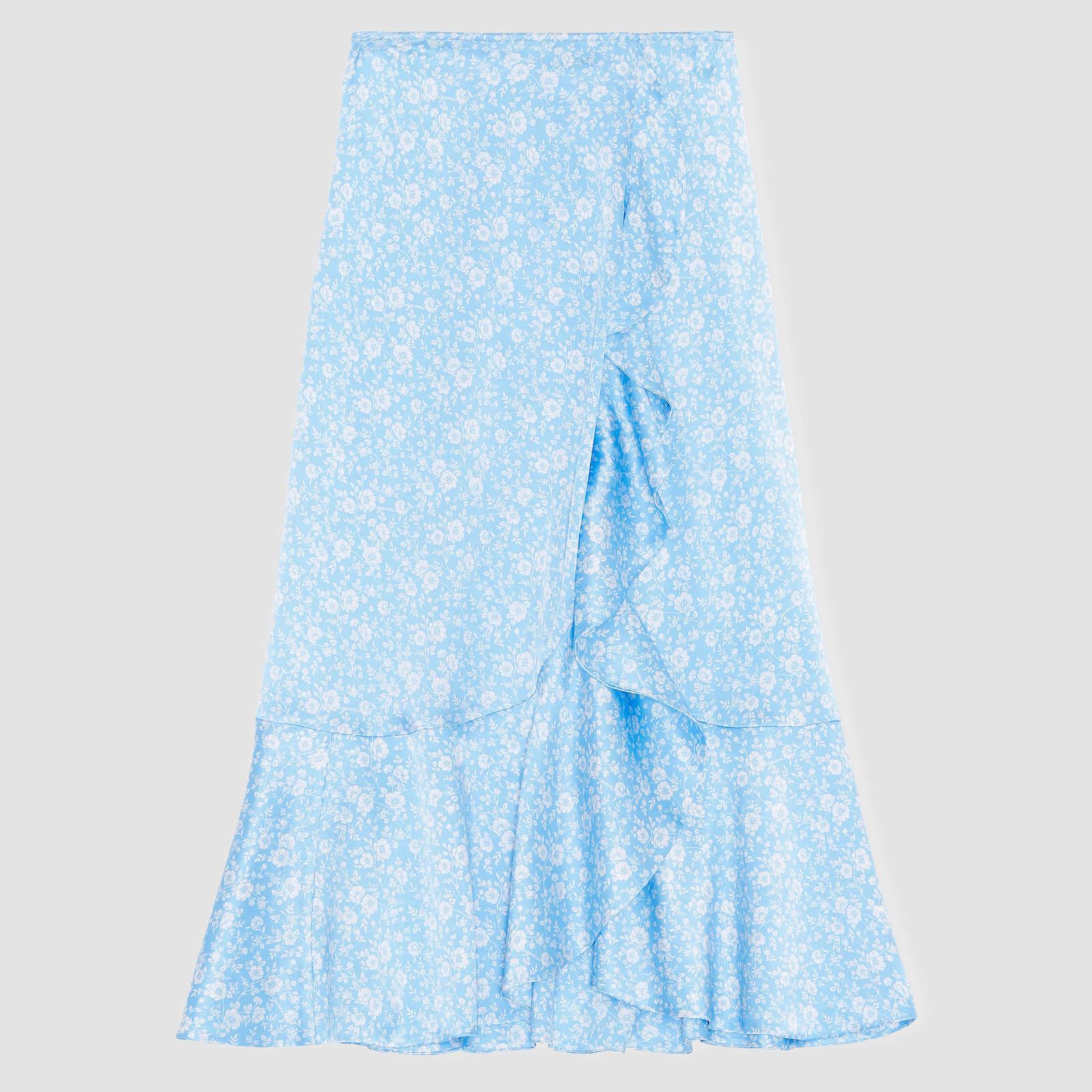 Ganni Women's Silk Stretch Satin Skirt - Alaskan Blue - Eu 34/Uk 6