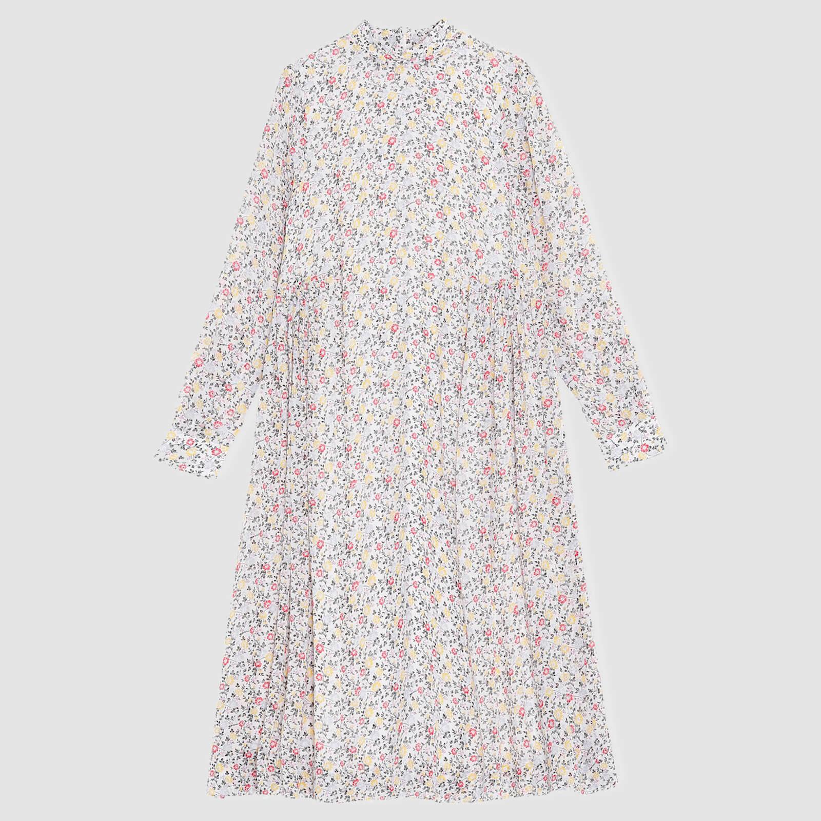 Ganni Women's Printed Georgette Midi Dress - Egret - Eu 34/Uk 6