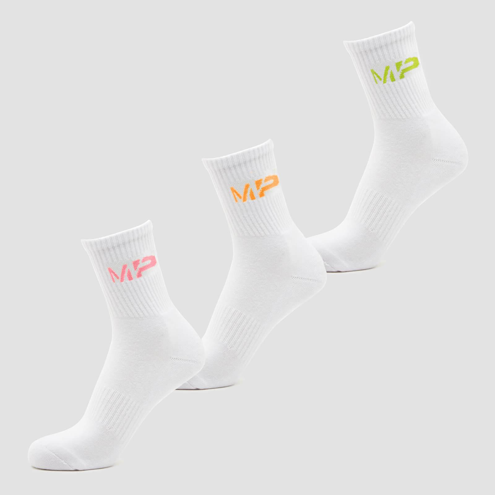 Купить MP Men's Neon MP Logo Crew Socks (3 Pack) Orange/Lime/Rose - UK 6-8, Myprotein International