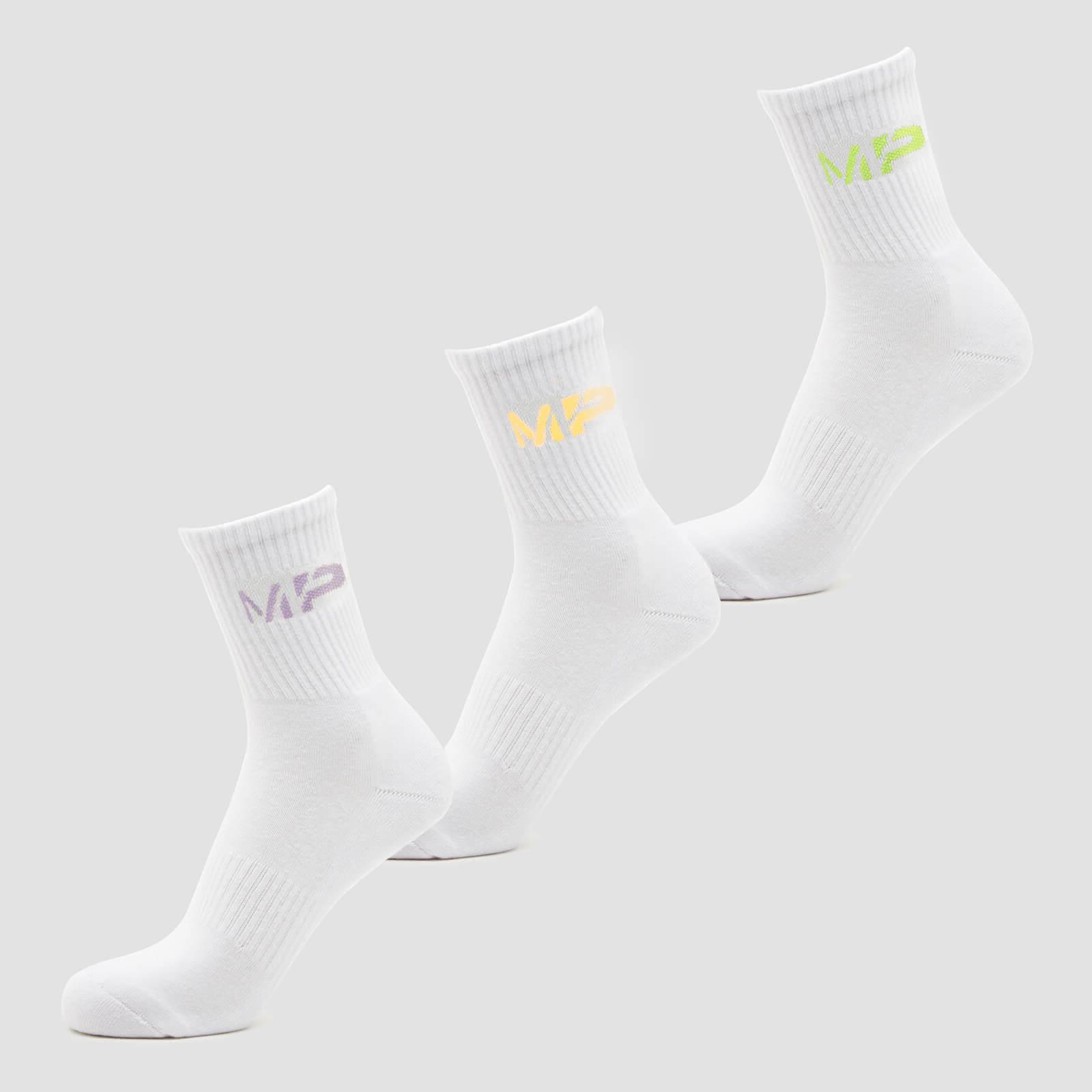 Купить MP Women's Neon MP Logo Crew Socks (3 Pack) Butterfly/Banana/Lavender - UK 3-6, Myprotein International