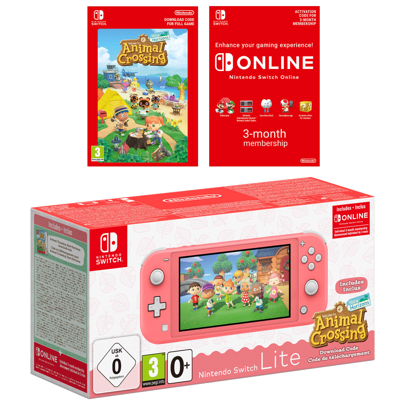 Image of Nintendo Switch Lite (Coral) + Animal Crossing: New Horizons + Nintendo Switch Online 3 Months