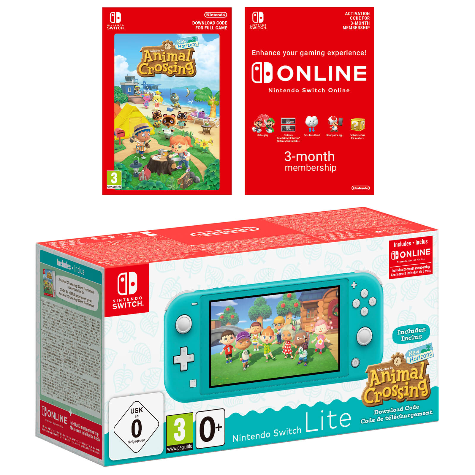 Image of Nintendo Switch Lite (Turquoise) + Animal Crossing: New Horizons + Nintendo Switch Online 3 Months