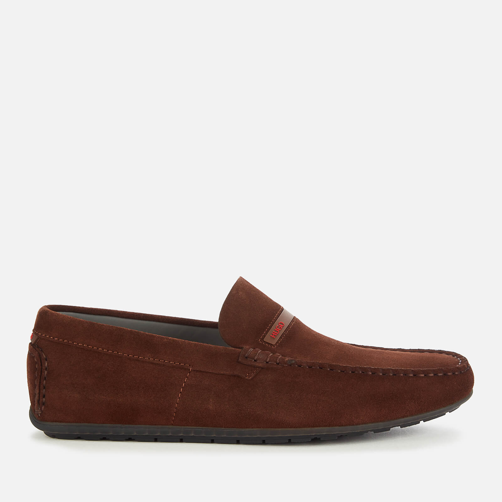 HUGO Men's Dandy Moc Suede Driving Shoes - Dark Brown - UK 11