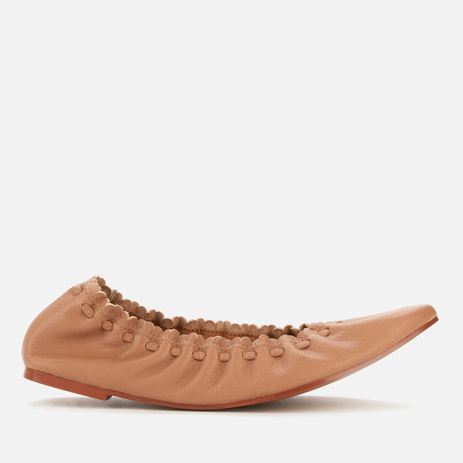 See By Chloé Women's Jane Leather Ballet Flats - Open Brown - UK 5