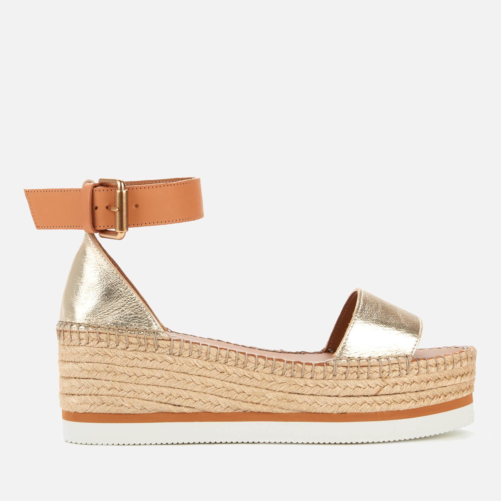 See By Chloé Women's Glyn Flatform Espadrille Sandals - Light Gold - UK 7