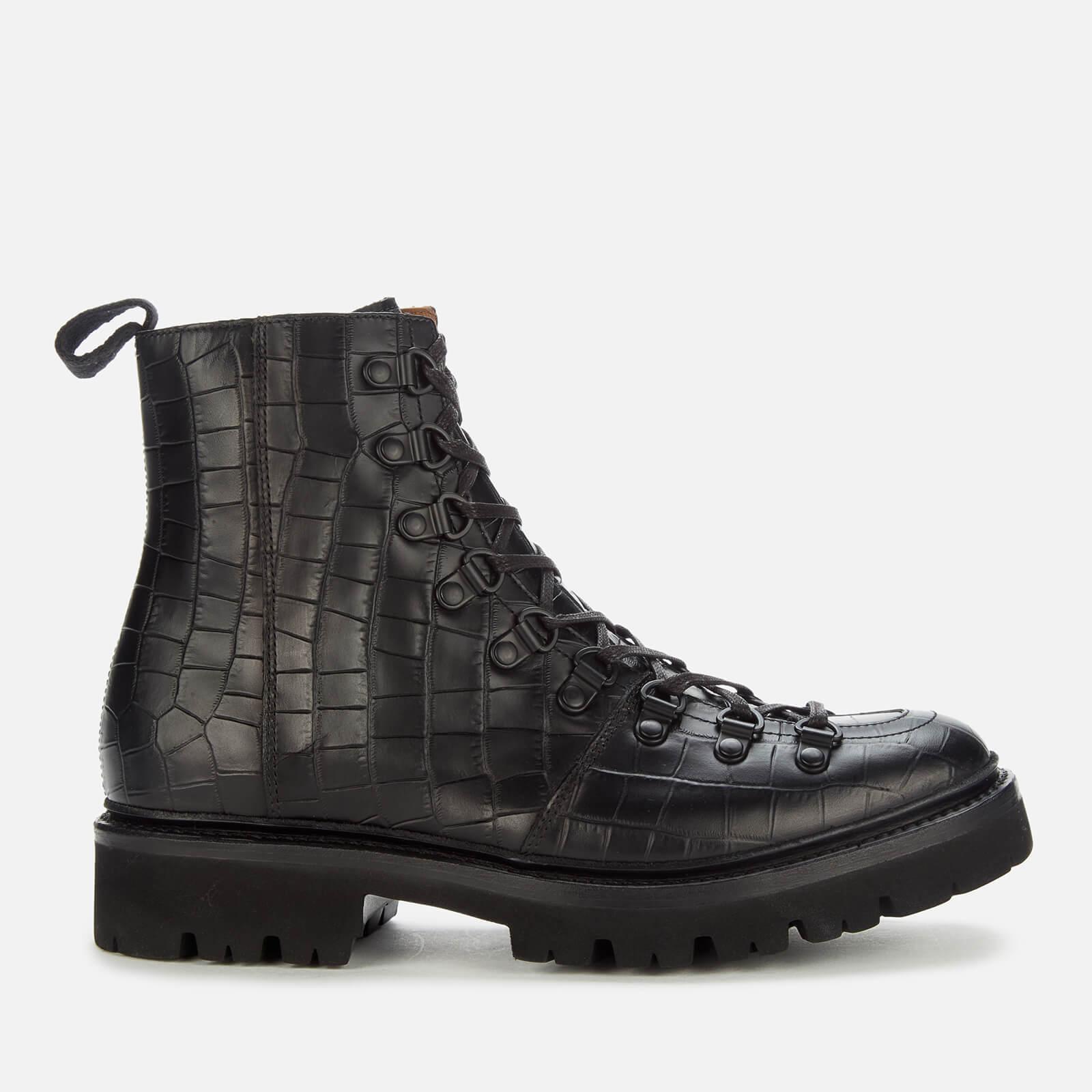 Grenson Women's Nanette Croc Print Hiking Style Boots - Black - Uk 4