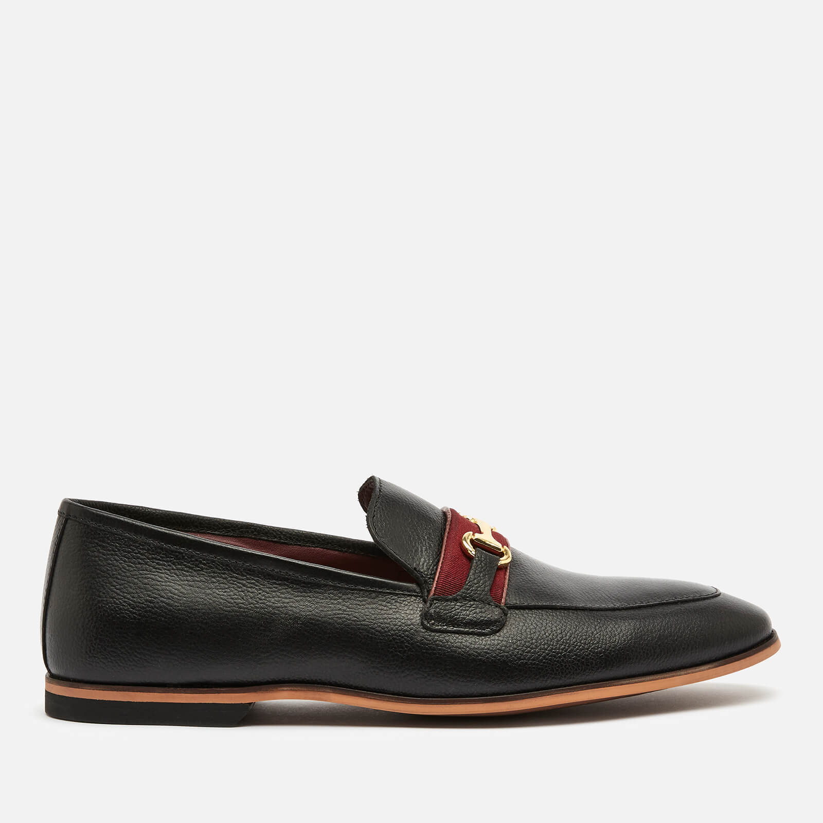 Walk London Men's Raphael Leather Loafers - Black/Burgundy - UK 7