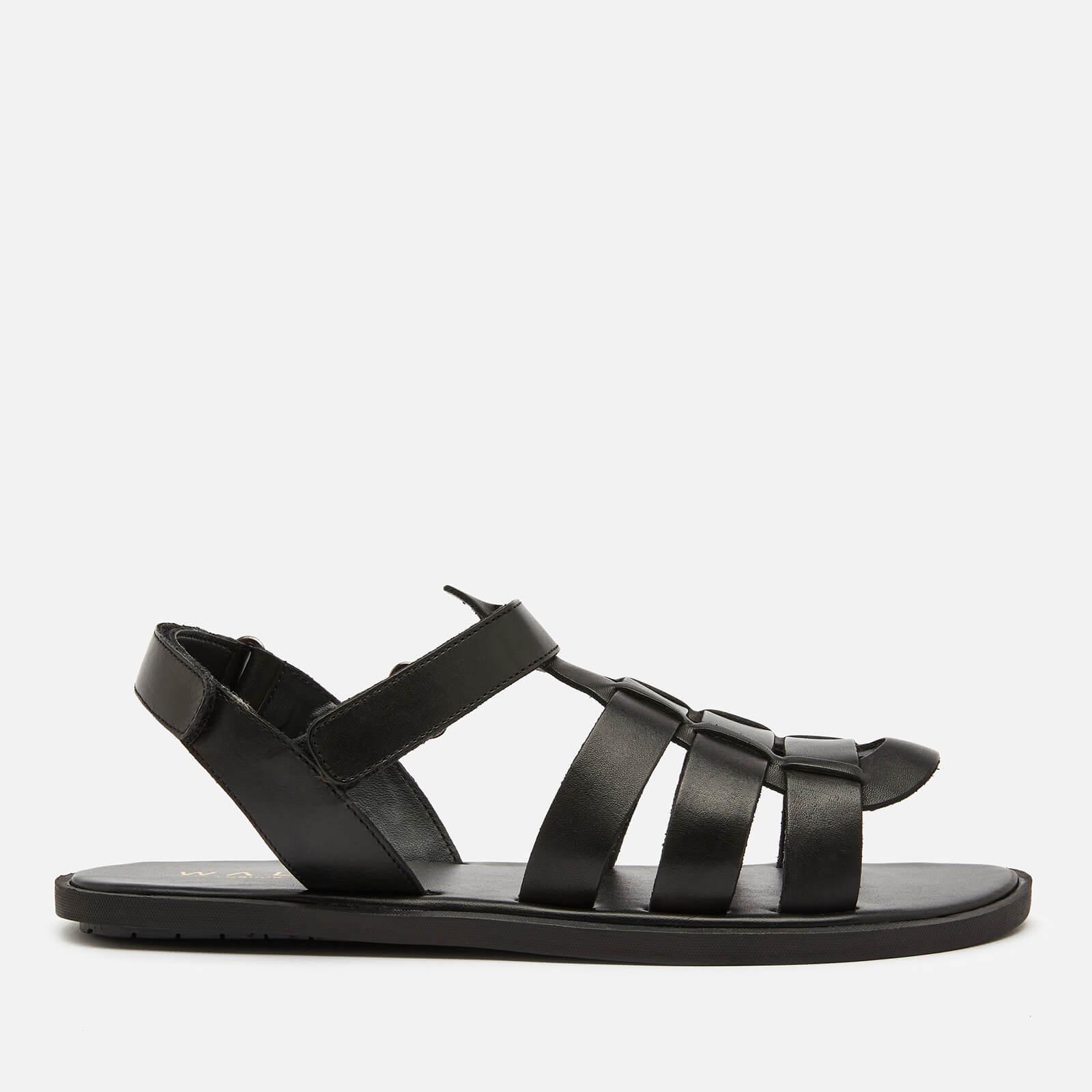 Walk London Men's Leather Gladiator Sandals - Black - UK 11
