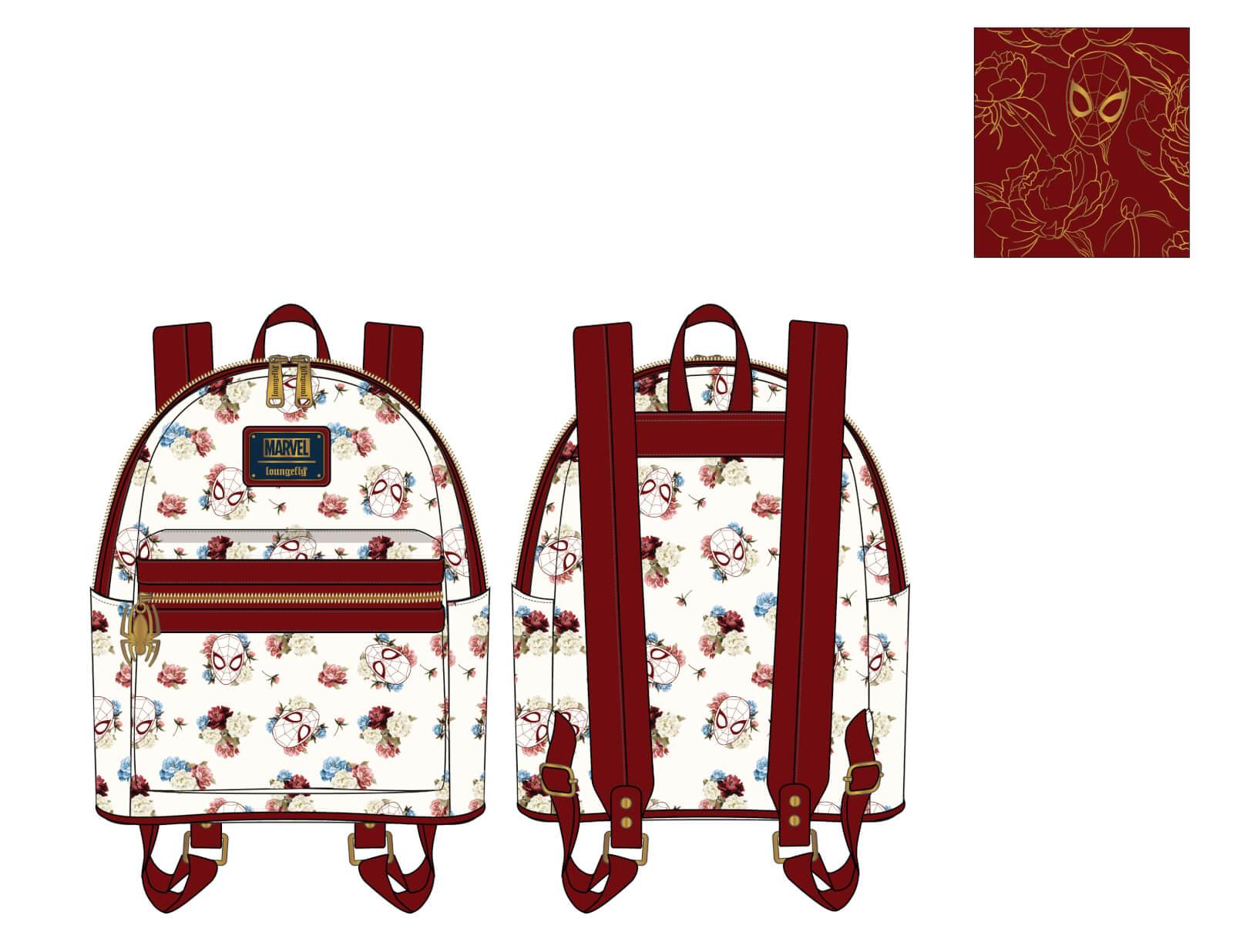Image of Loungeflu Marvel Spiderman Floral Mini Backpack
