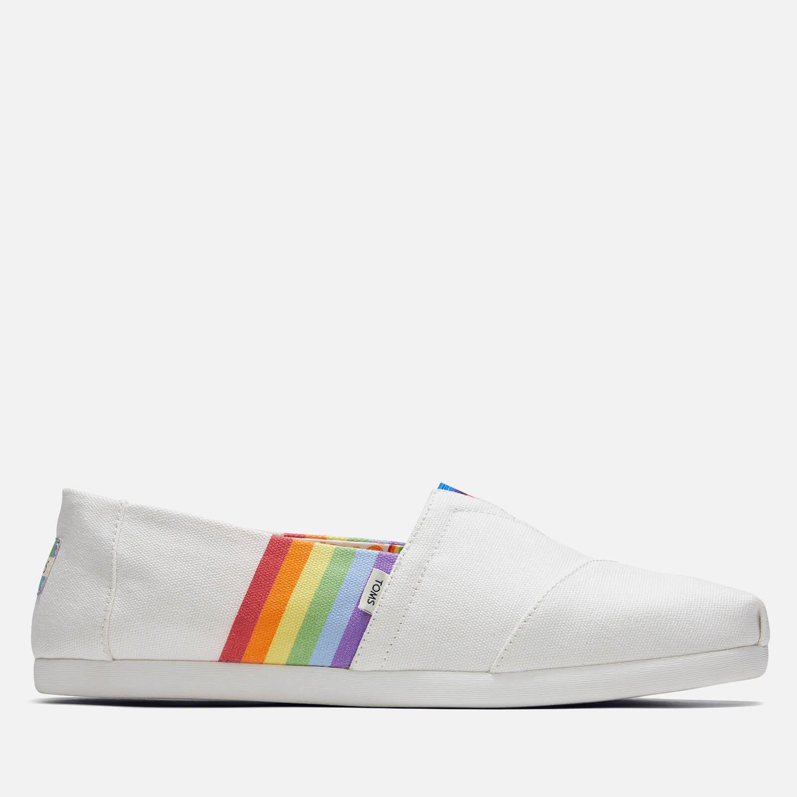 TOMS Men's Alpargata 'Pride Pack' Vegan Pumps - White Unity Rainbow - UK 7