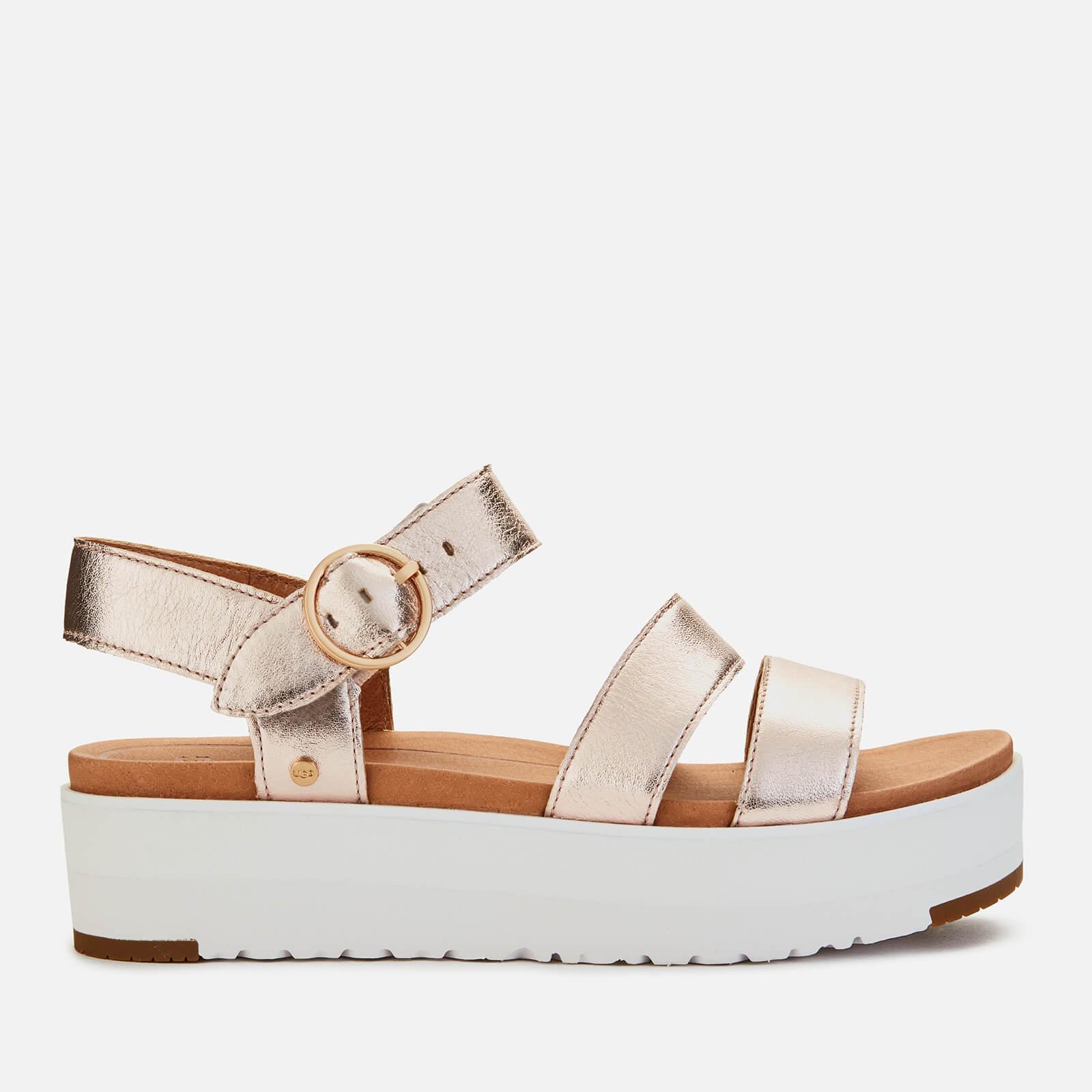 Ugg Women's Leedah Leather Flatform Sandals - Rose Gold Metallic - Uk 4