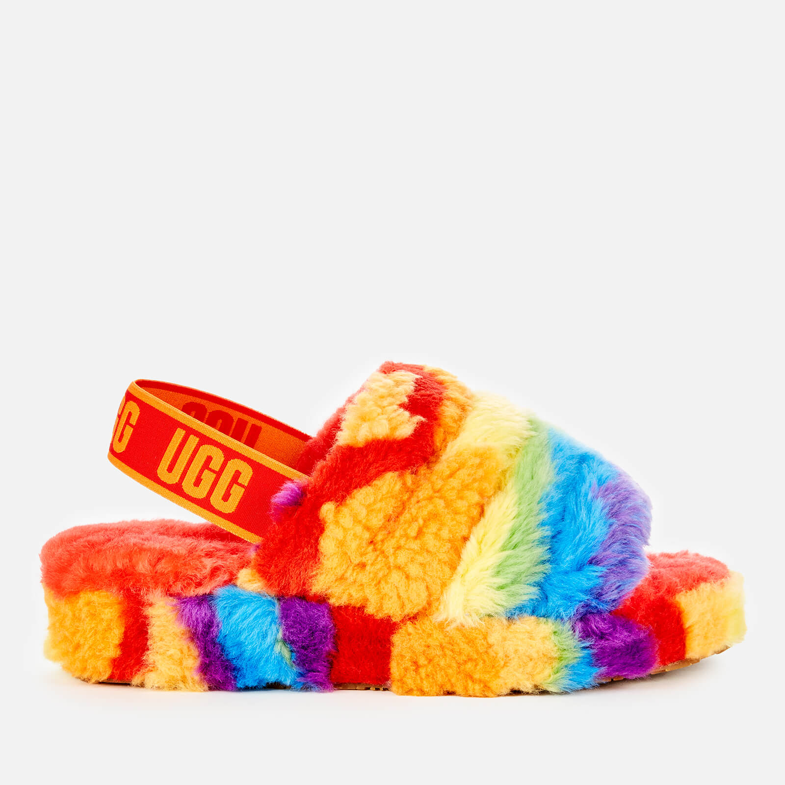 Ugg Women's Fluff Yeah Pride Collection Slippers - Rainbow Stripe - Uk 3