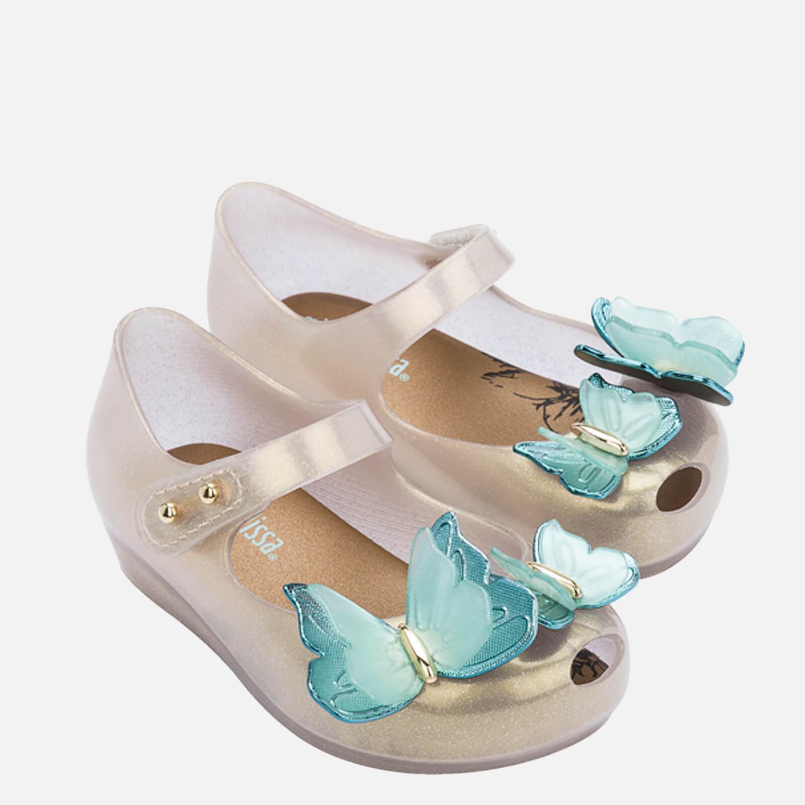 Mini Melissa Toddlers' Mini Ultragirl Butterfly Ballet Flats - Pearl Contrast - UK 5 Toddler