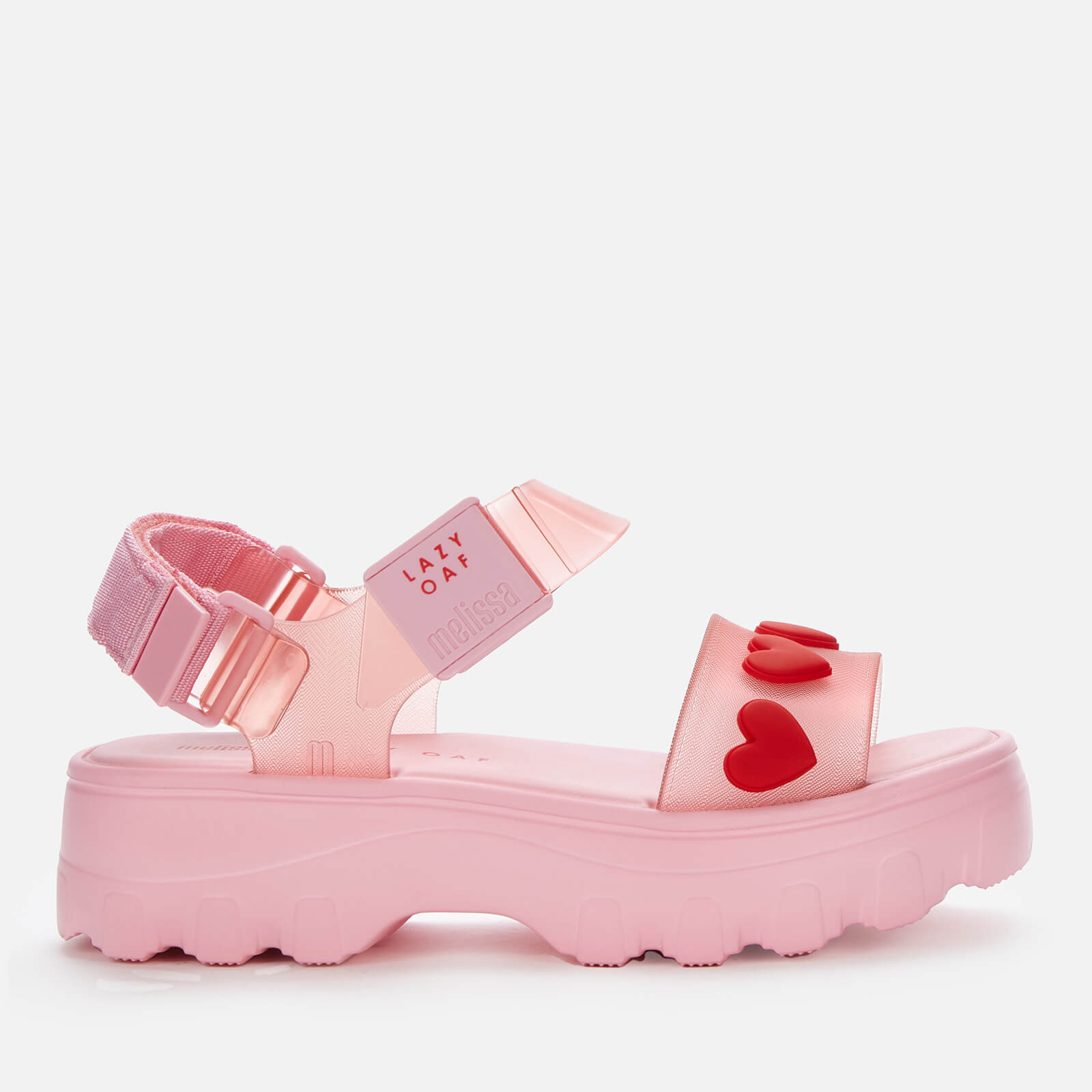 Melissa X Lazy Oaf Womens Kick Off Sandals Pink Heart Uk 5