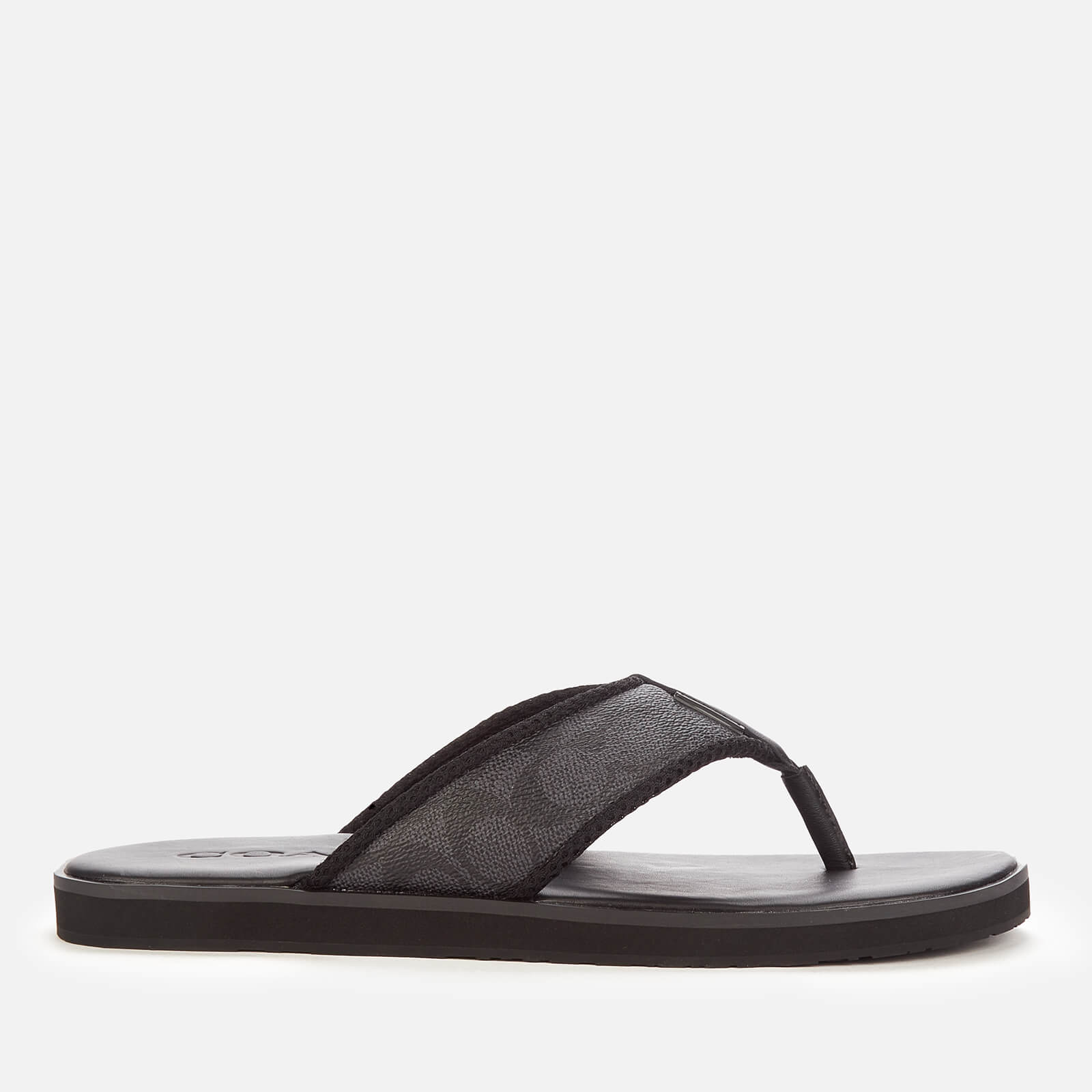Coach Mens Signature Flip Flops Charcoal Black Uk 75