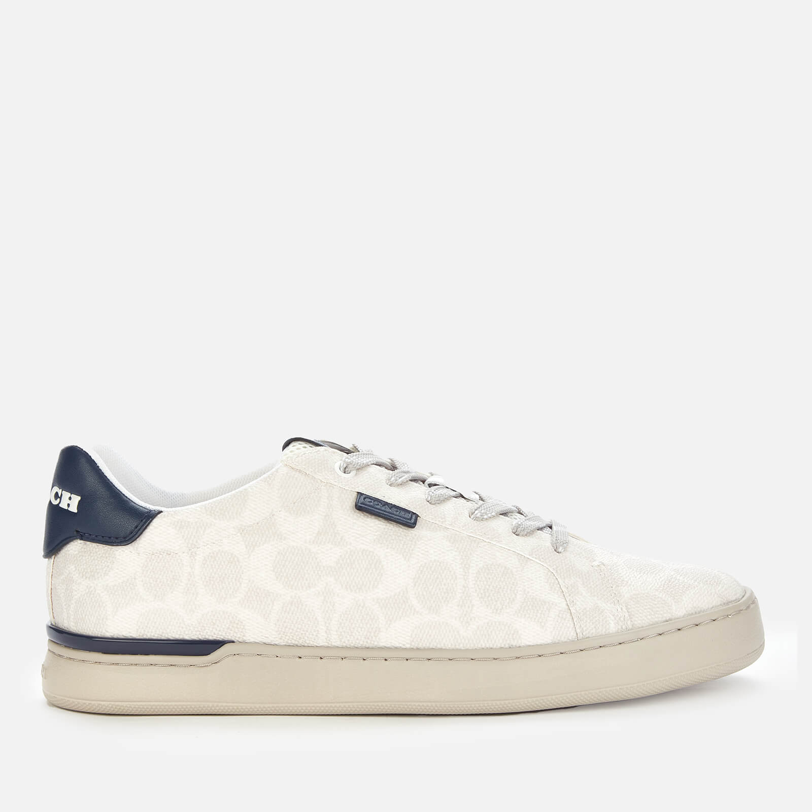 Coach Mens Lowline Signature Low Top Trainers Chalk Cobalt Uk 10