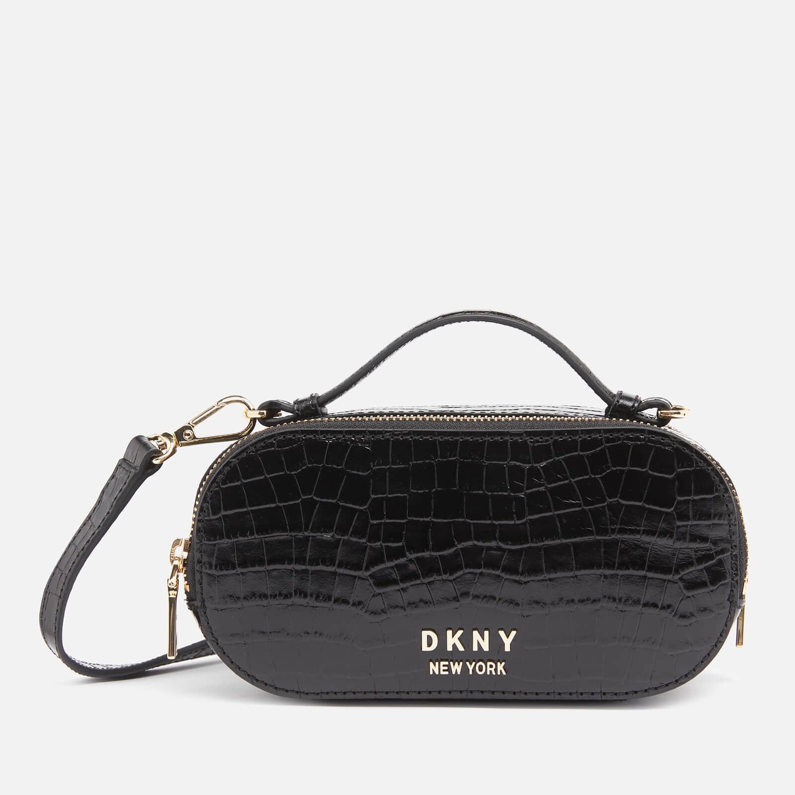 Dkny Women's Octavia Oval Croco Camera Bag - Black/Gold