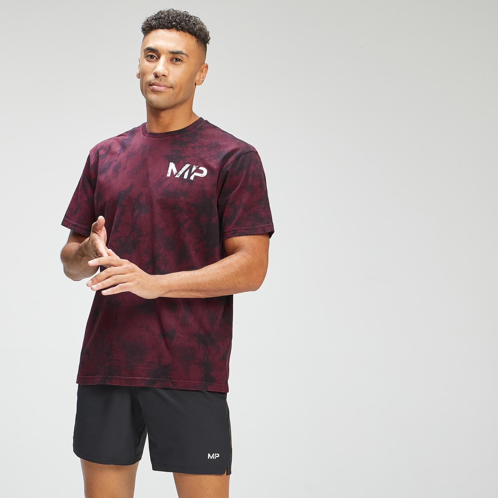 Купить MP Men's Adapt Tie Dye Short Sleeve Oversized T-Shirt - Black/Merlot - XXS, Myprotein International