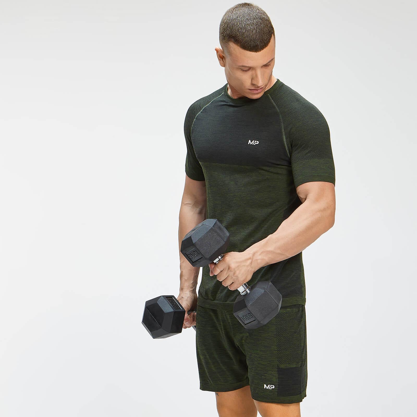 MP Men's Essential Seamless Short Sleeve T-Shirt - Vine Leaf Marl - L, Myprotein International  - купить со скидкой