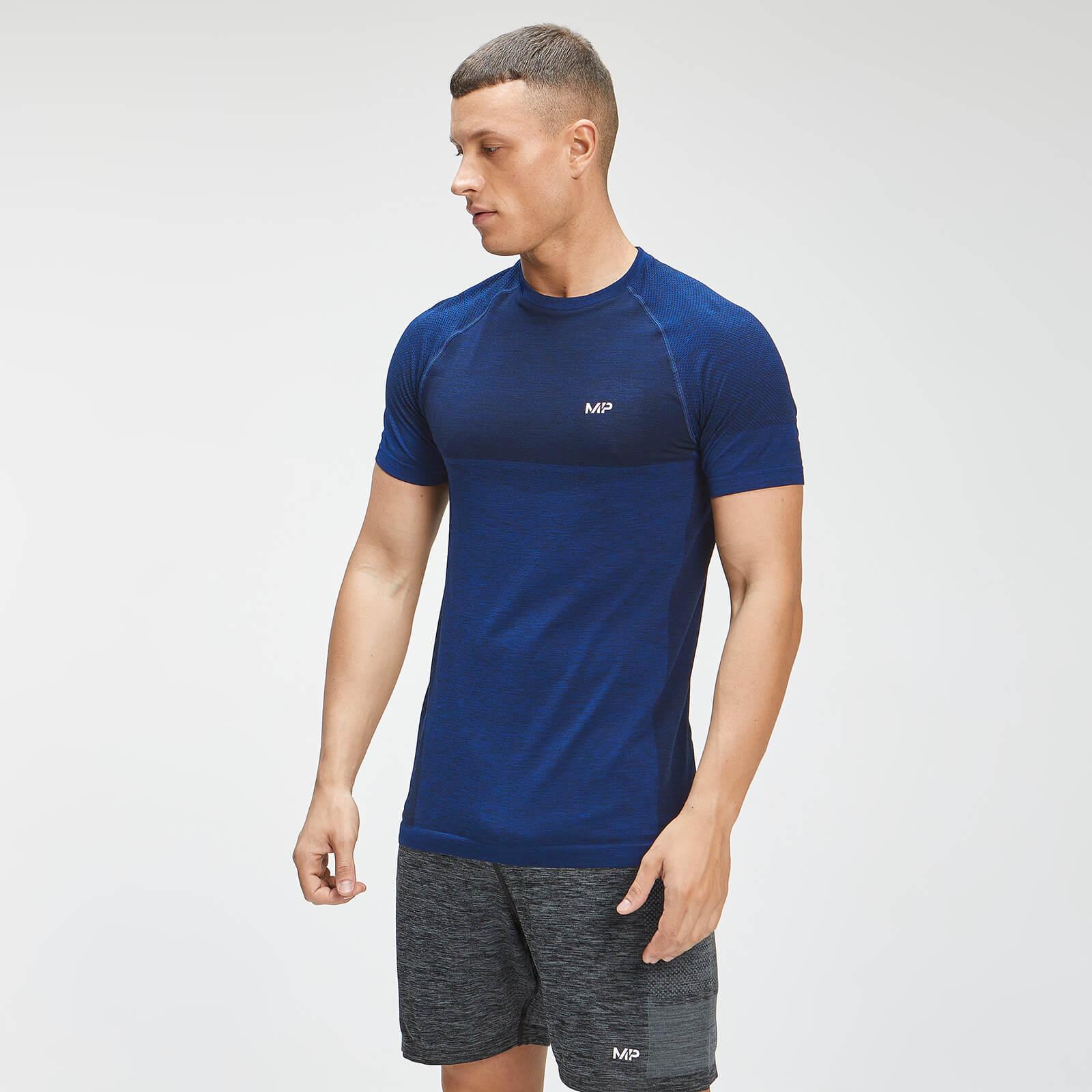MP Men's Essential Seamless Short Sleeve T-Shirt - Intense Blue Marl - M, Myprotein International  - купить со скидкой