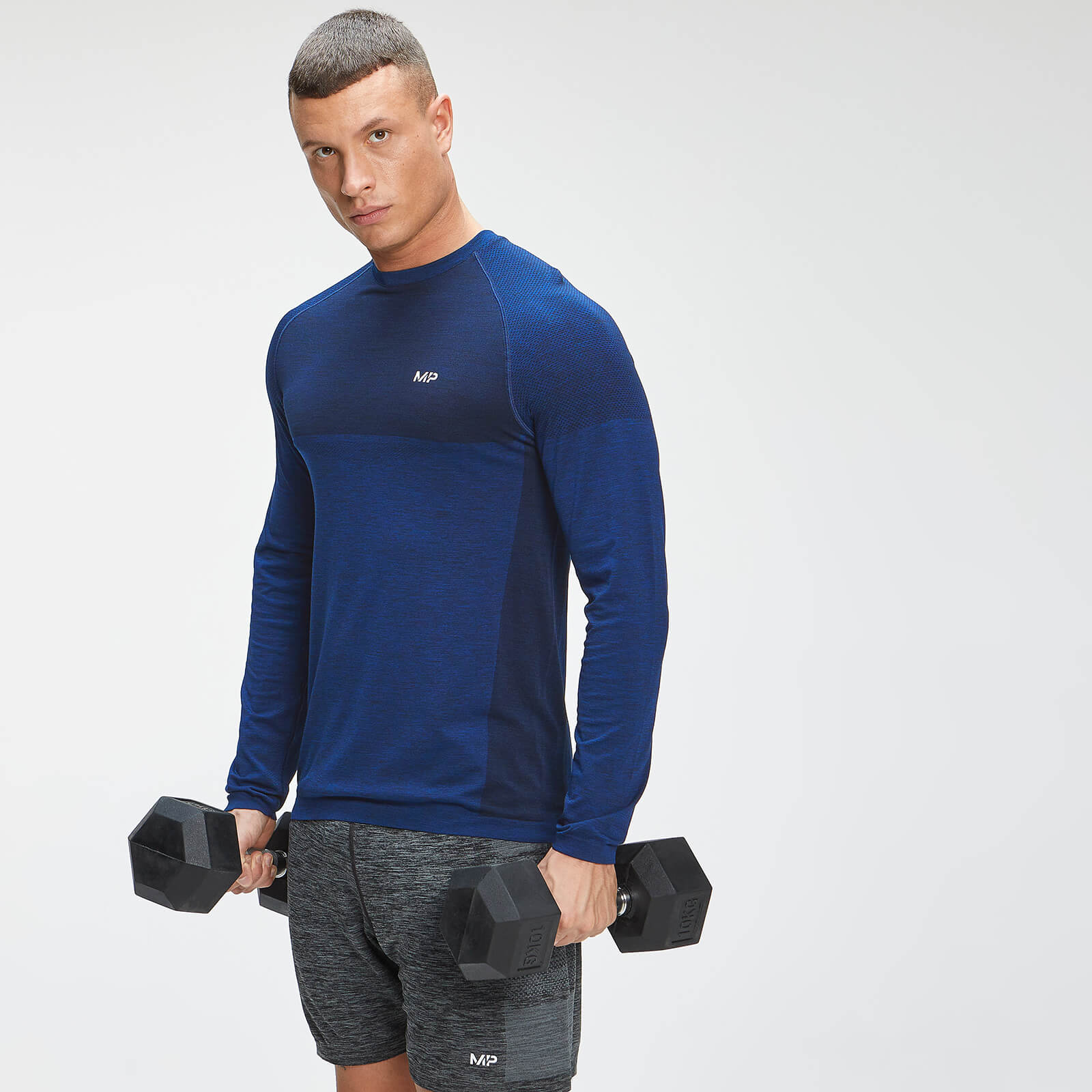 Купить MP Men's Essential Seamless Long Sleeve Top - Intense Blue Marl - XXL, Myprotein International