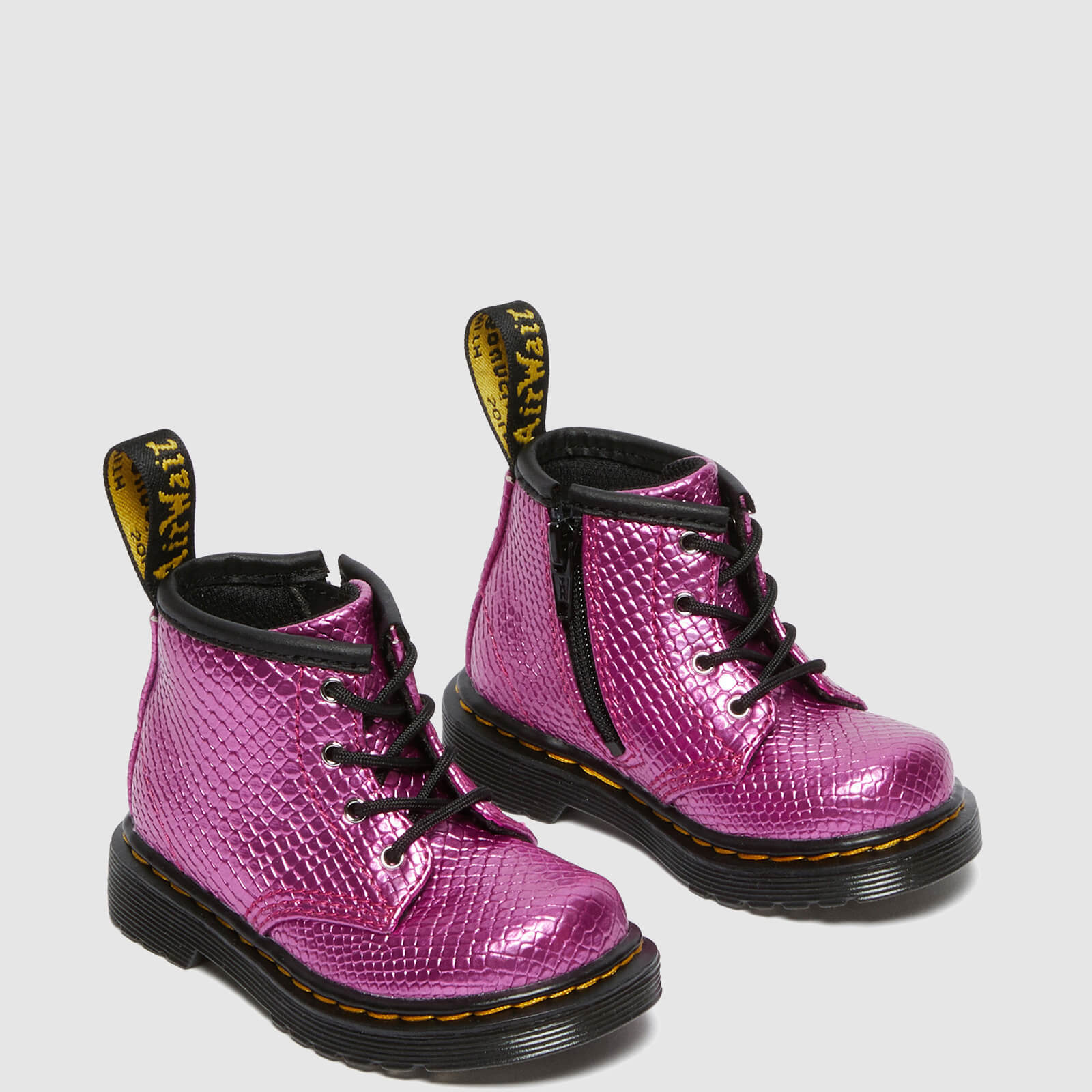Dr. Martens Babies' 1460 Patent Lamper Lace Up Boots - Pink Reptile Emboss - Uk 4 Baby