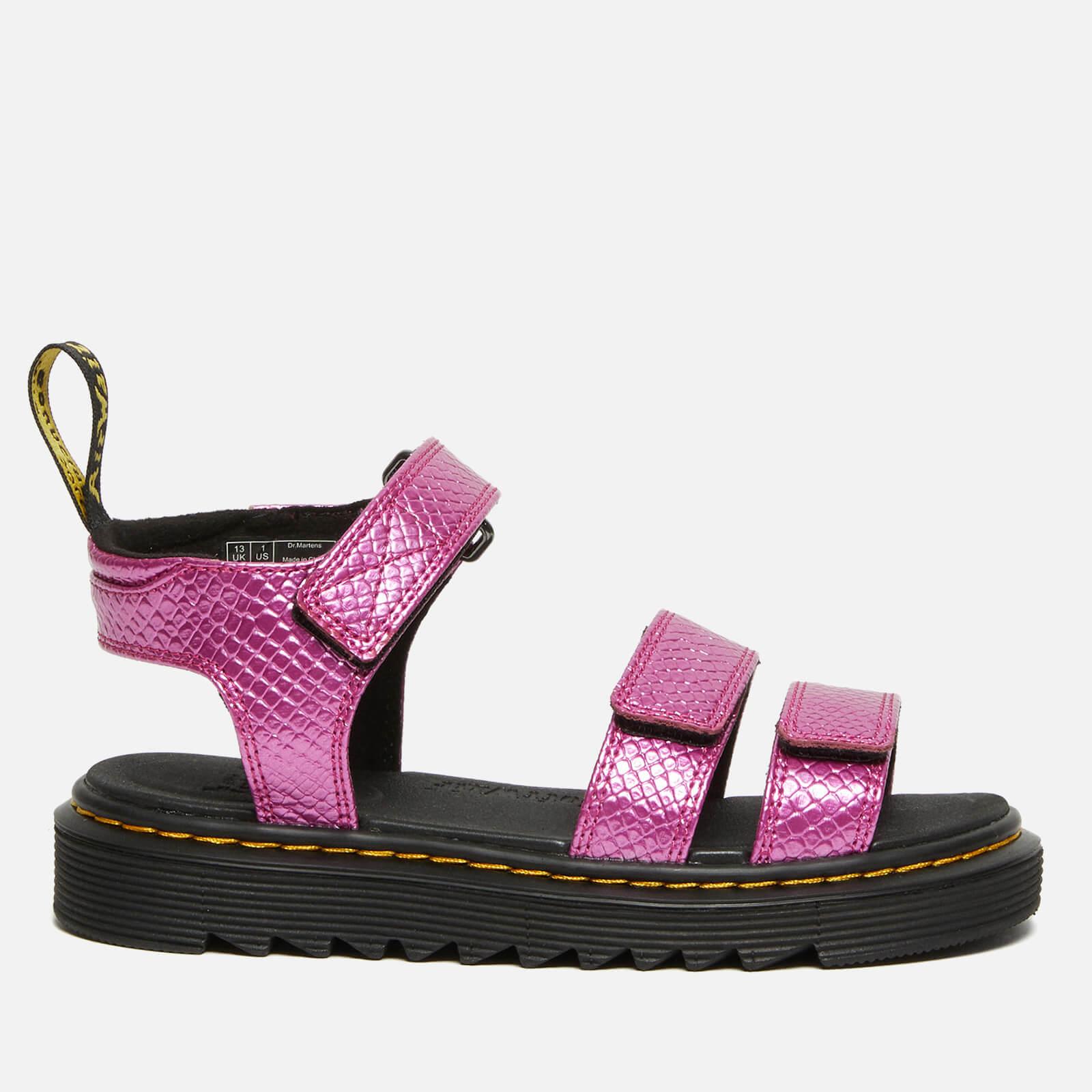 Dr. Martens Kids' Klaire Sandal - Pink Reptile Emboss - UK 11 Kids