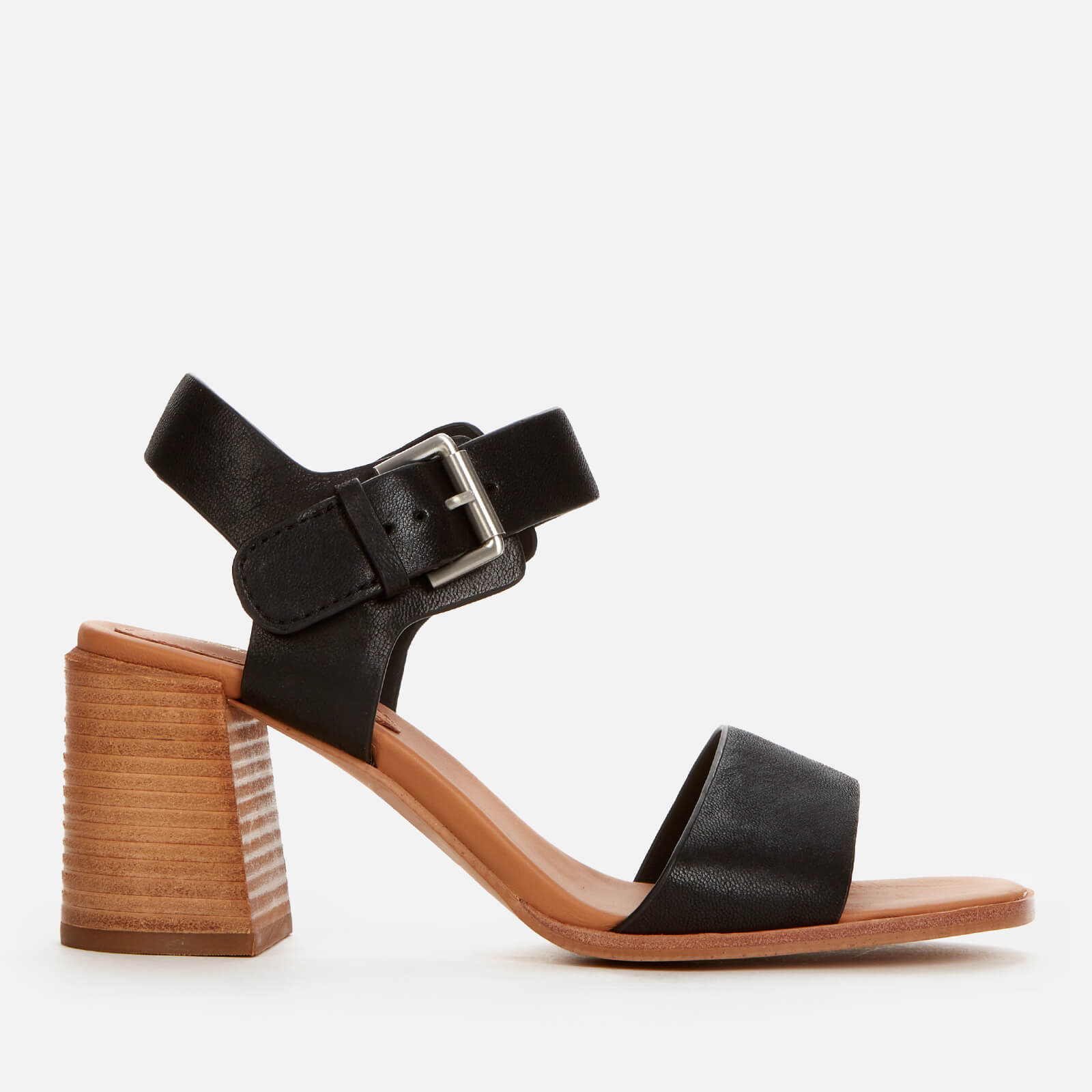 Clarks Women's Landra70 Strap Leather Heeled Sandals - Black - Uk 3