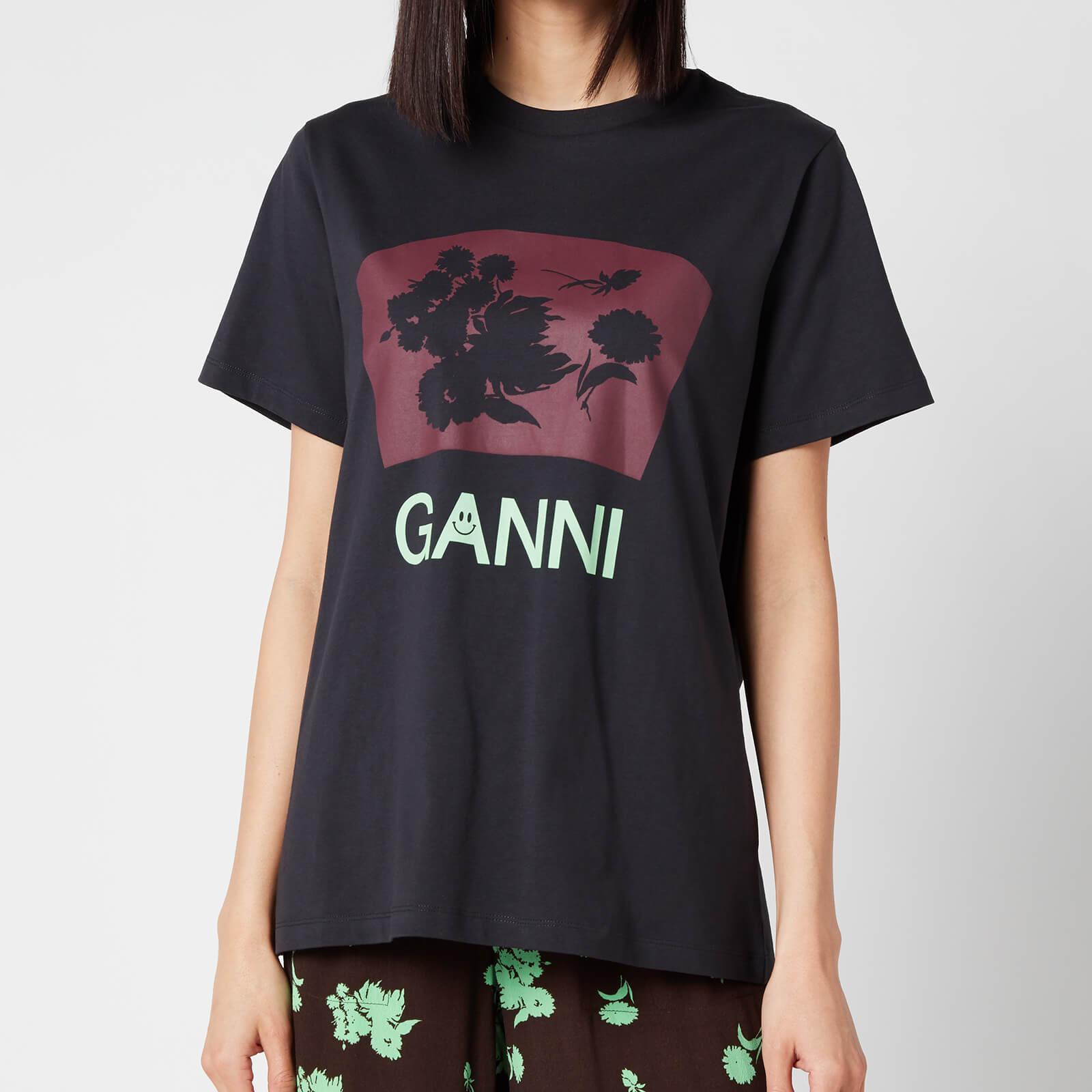 Ganni Women's Floral Cotton Jersey T-Shirt - Phantom