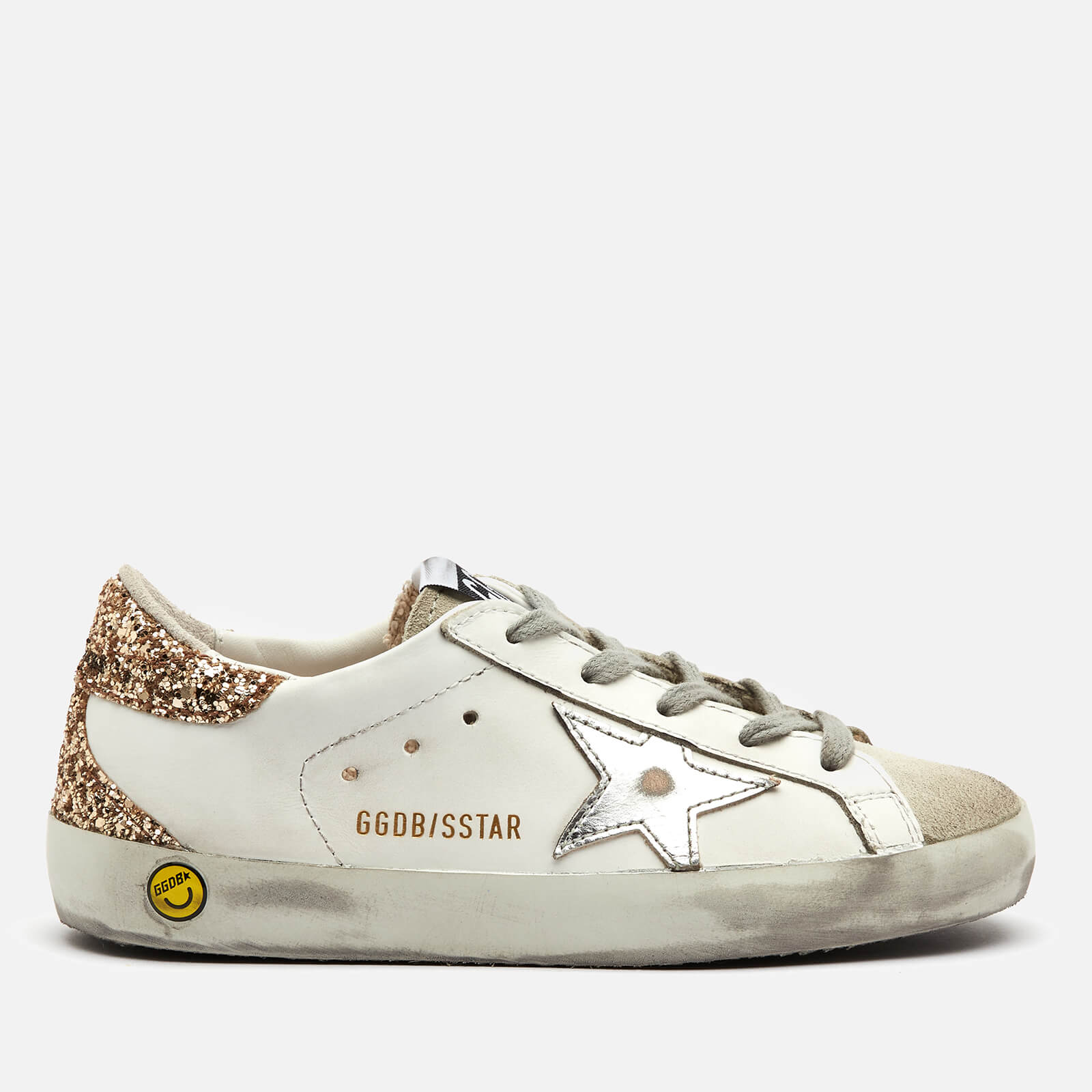 Golden Goose Deluxe Brand Kids' Super Star Leather Trainers - White/Ice/Silver/Gold - UK 13 Kids