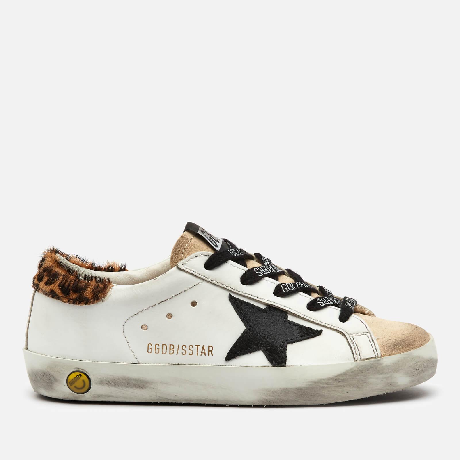 Golden Goose Deluxe Brand Kids' Super Star Leather Trainers - White/Beige/Black/Beige Brown Leo - UK 12 Kids