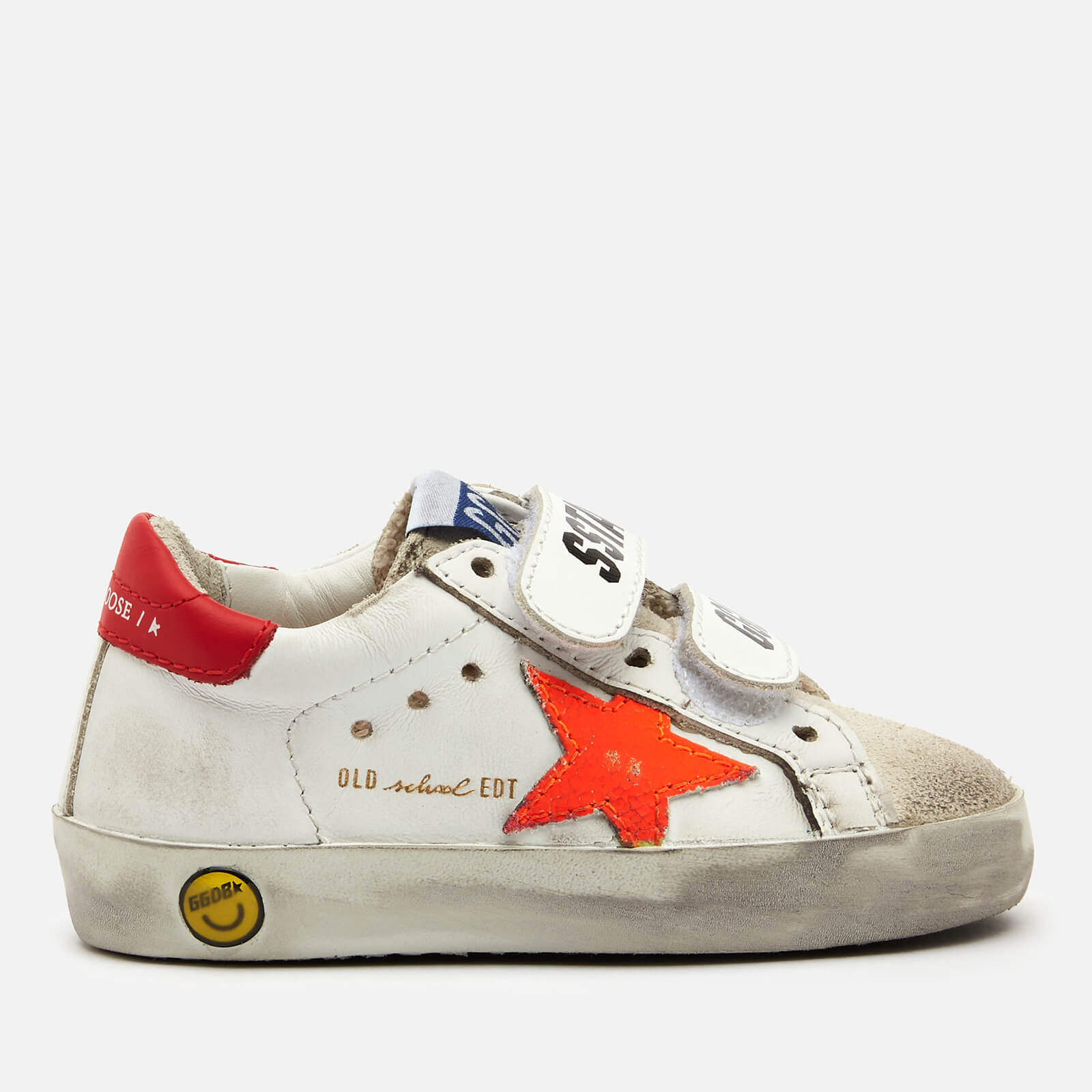 Golden Goose Deluxe Brand Toddlers' Old School Leather Trainers - White/Ice/Orange Fluo/Cherry Red - UK 5 Toddler