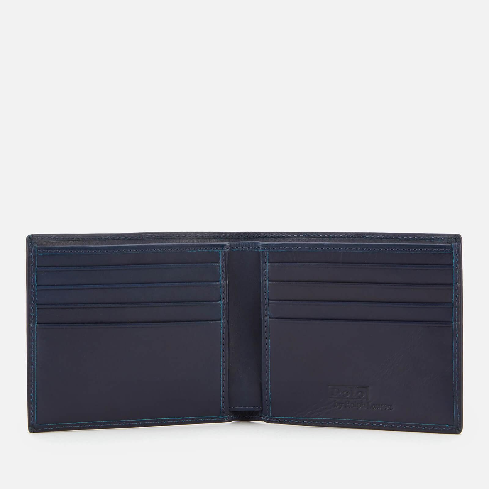polo ralph lauren men's smooth leather bear logo wallet - navy