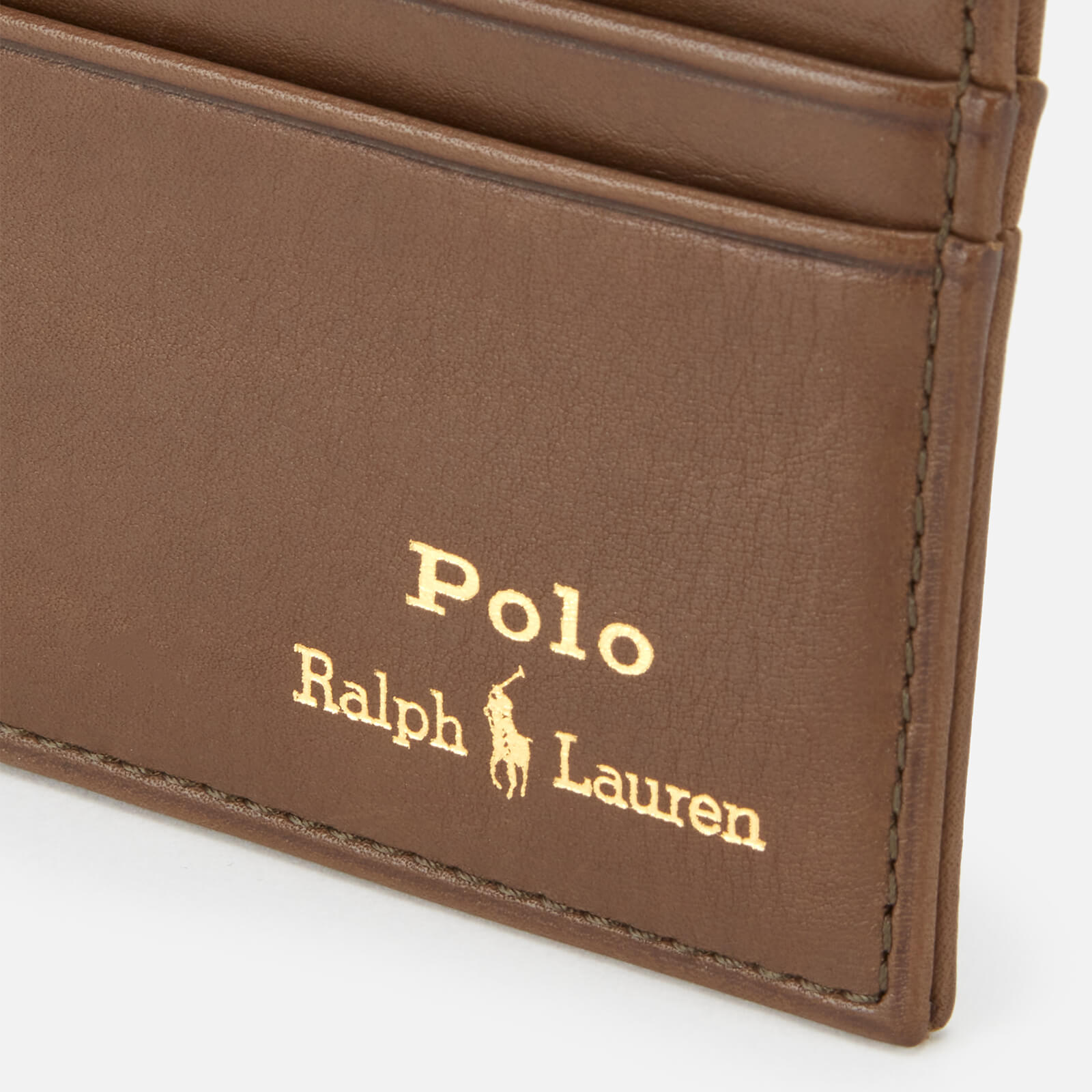 polo ralph lauren men's smooth leather cardholder - olive