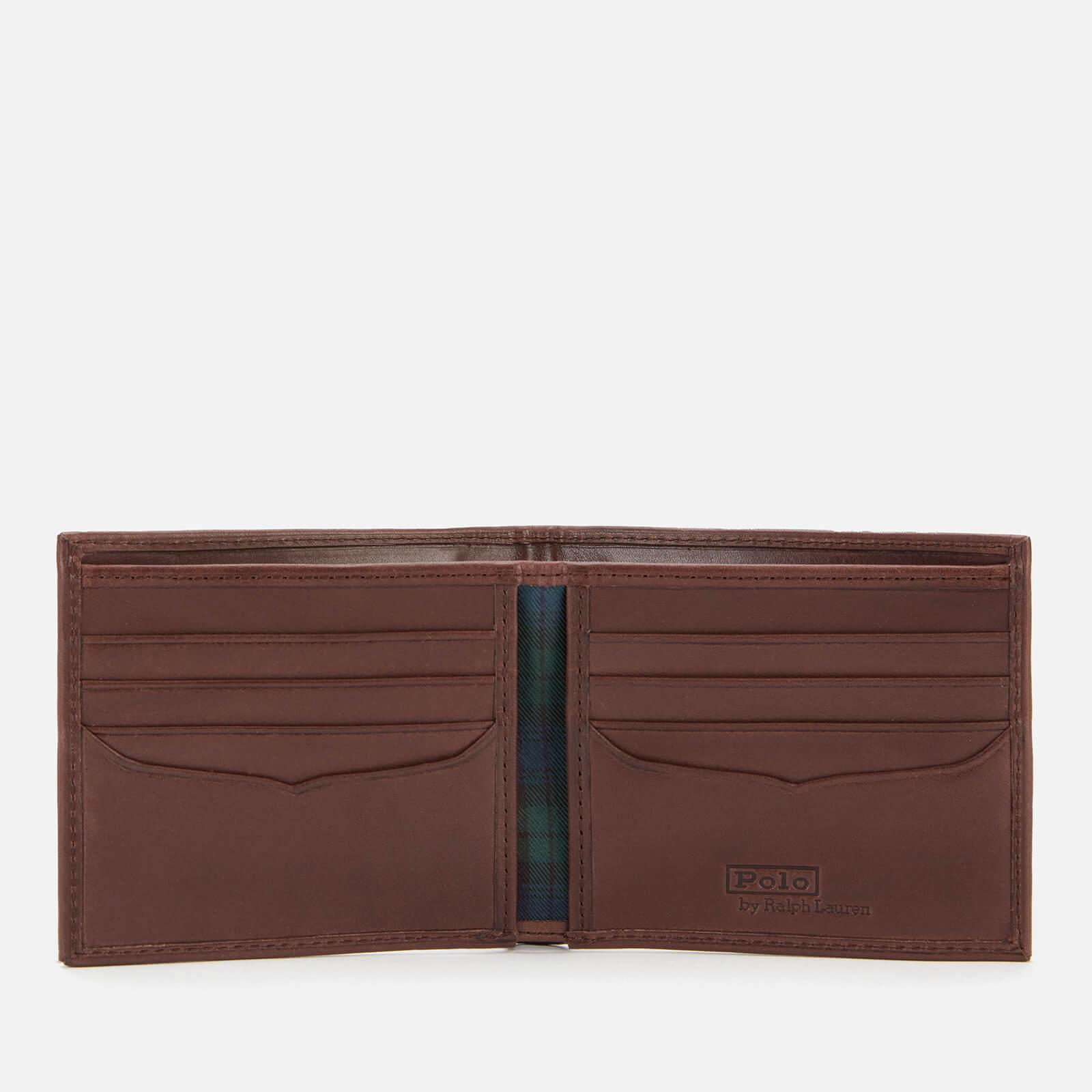 polo ralph lauren men's smooth leather tartan wallet - navy