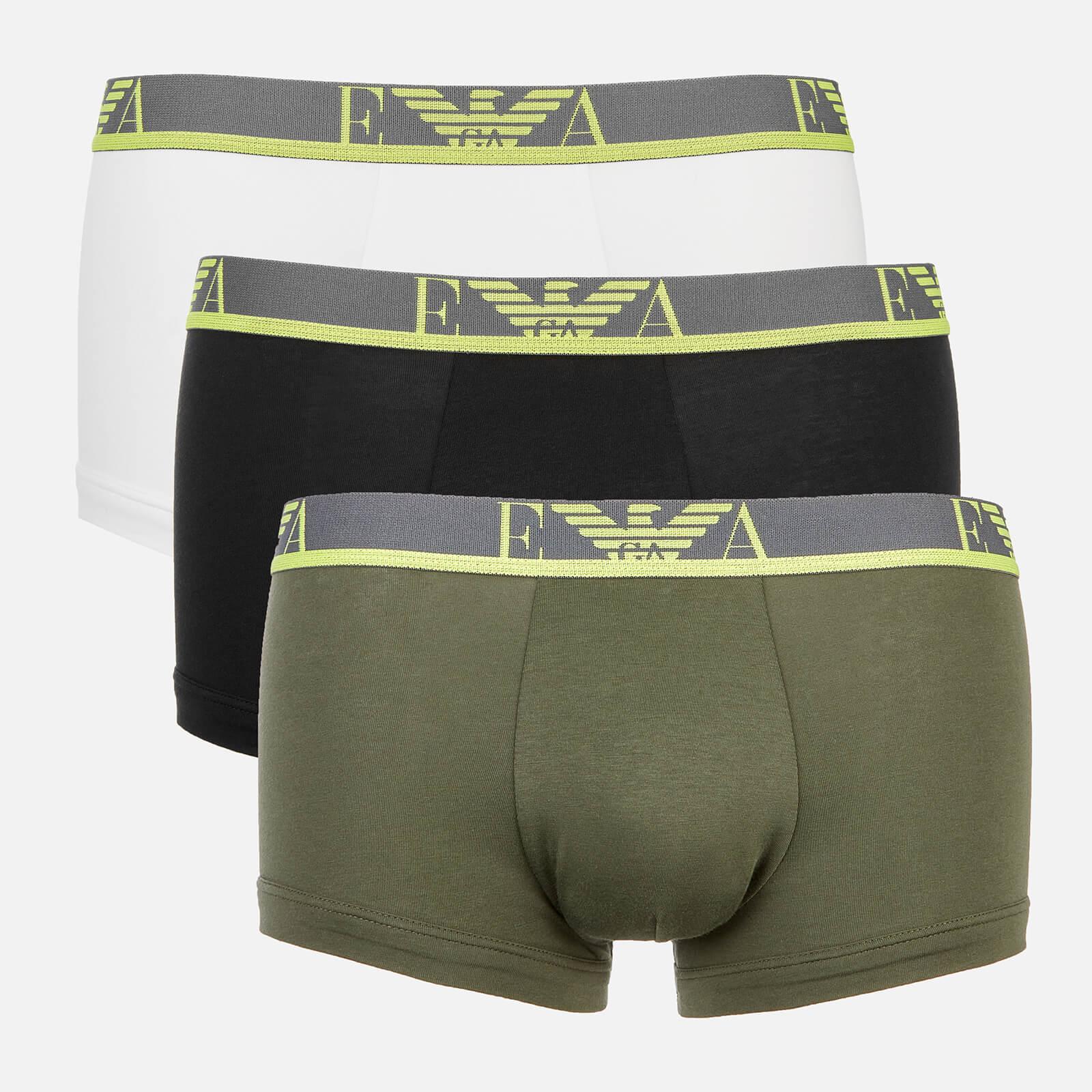 Emporio Armani Men's Monogram 3-Pack Trunks - Green/White/Black - S