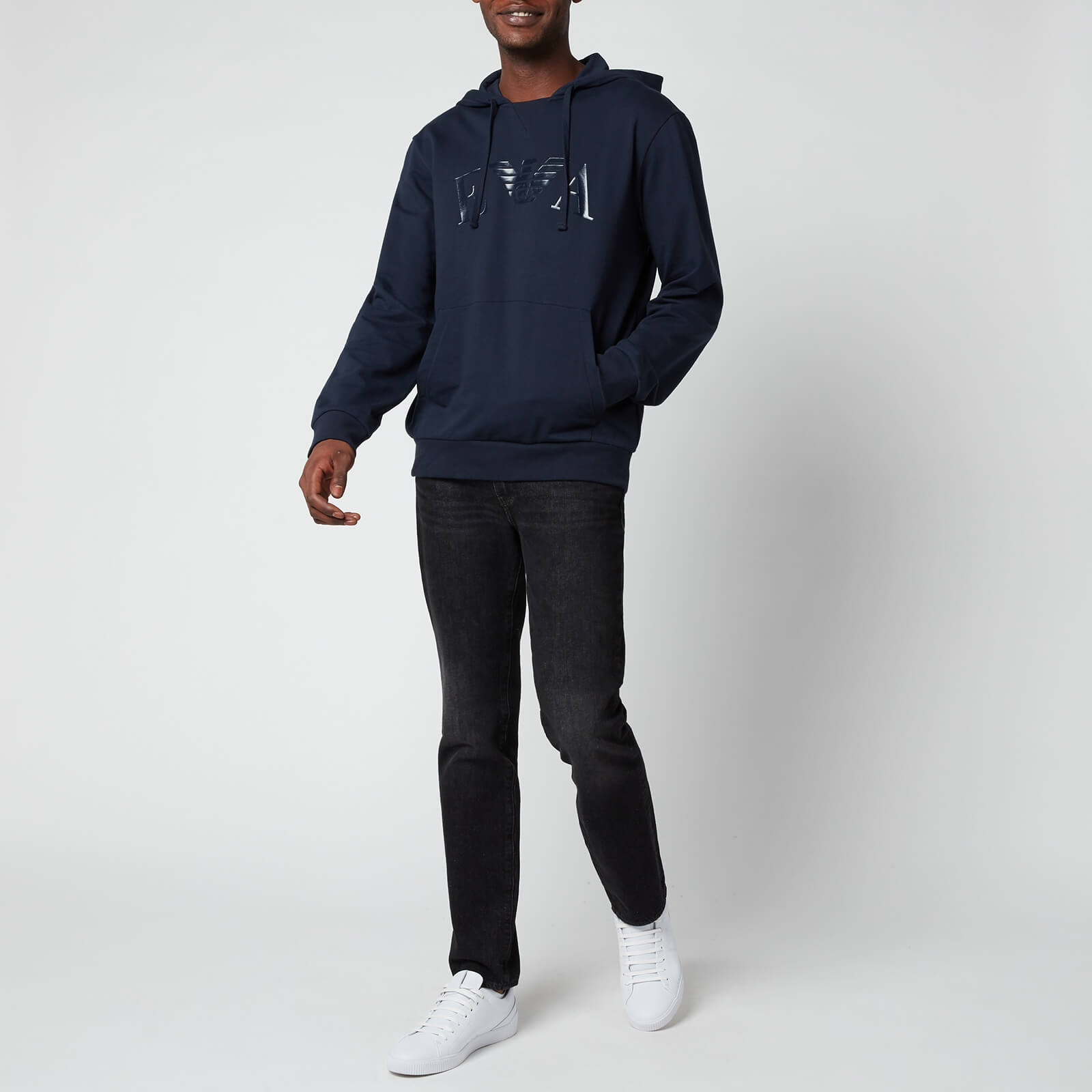 Emporio Armani Men's Iconic Terry Hooded Sweatshirt - Blue - S