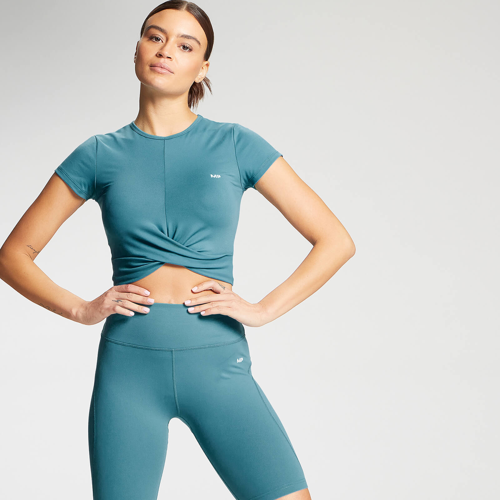 Купить MP Women's Power Short Sleeve Crop Top - Ocean Blue - XS, Myprotein International