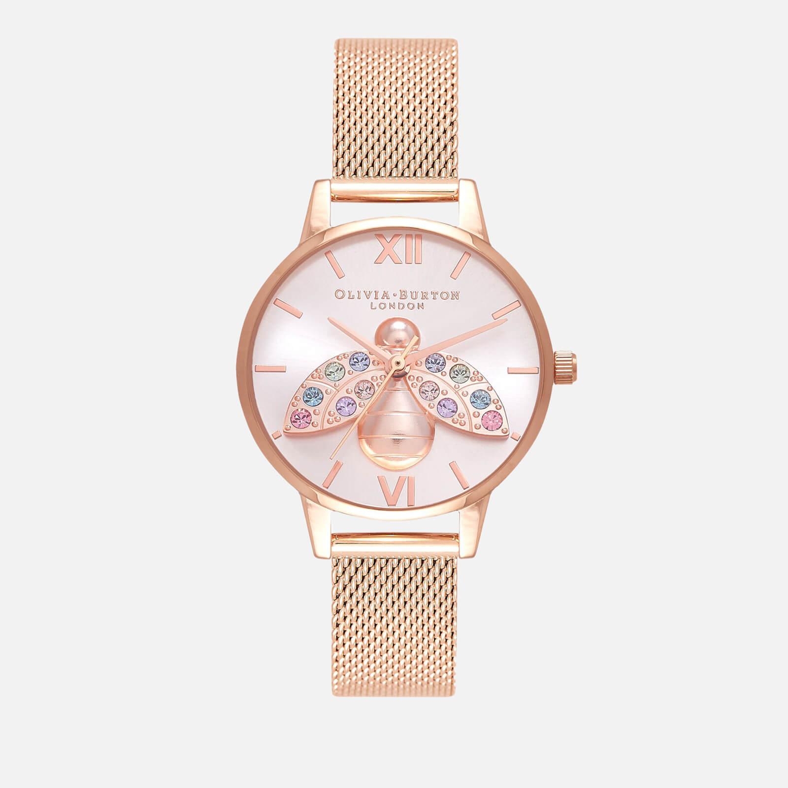 Olivia Burton Women's Rainbow Bee Sunray Mesh Watch - Rose Gold