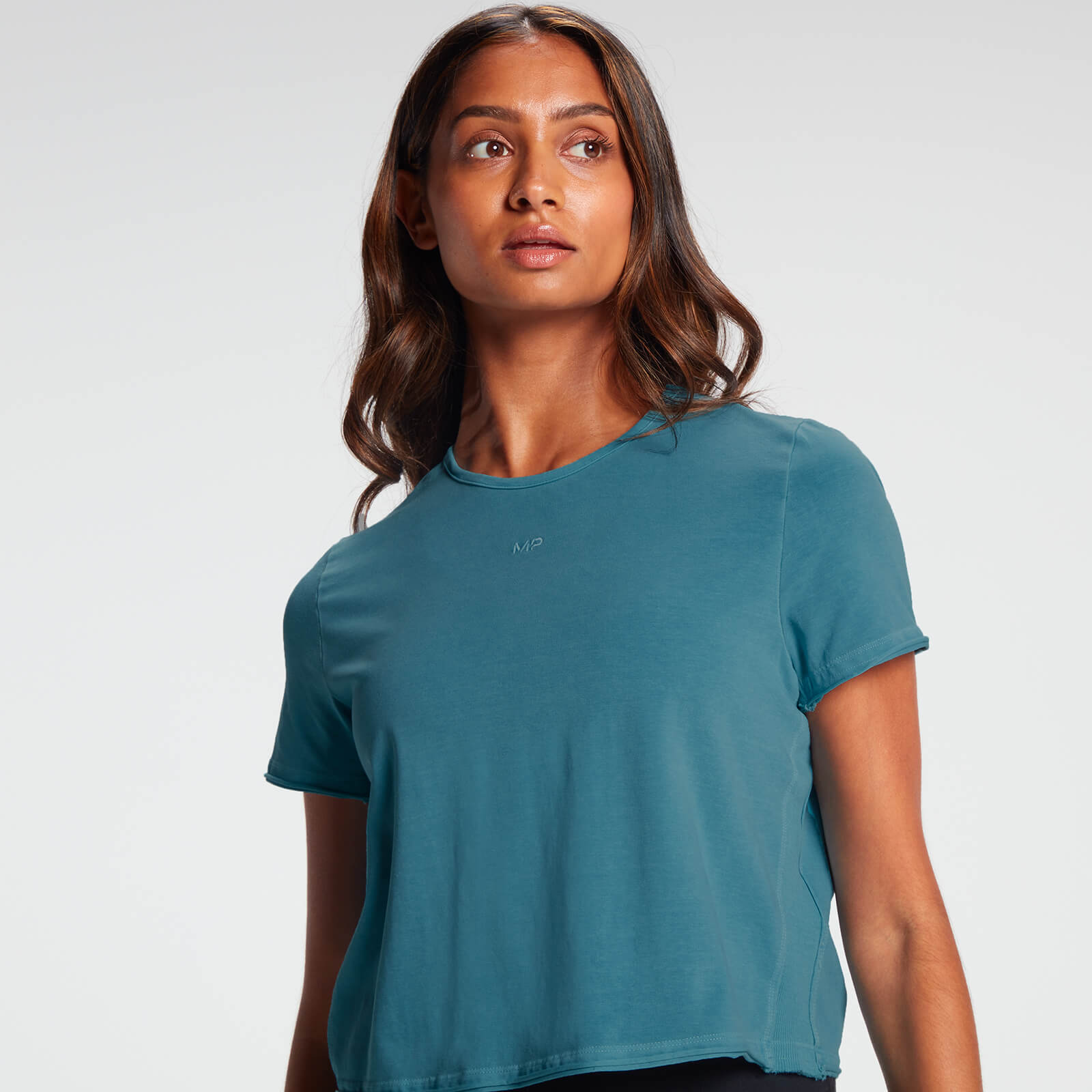 MP Women's Raw Training Cropped T-Shirt - Ocean Blue  - XL