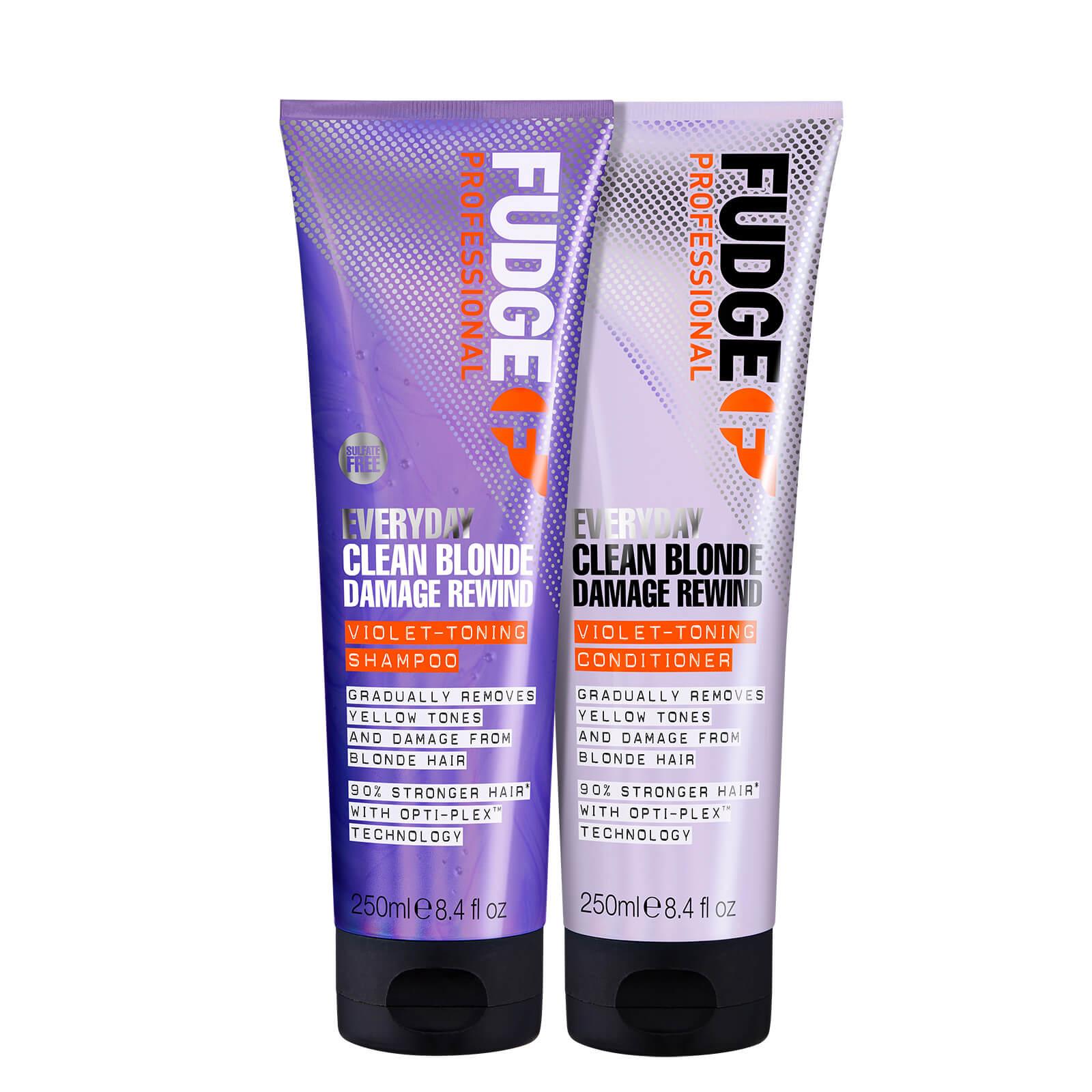 Купить Fudge Professional Clean Blonde Everyday Violet Damage Rewind Purple Shampoo and Conditioner Duo