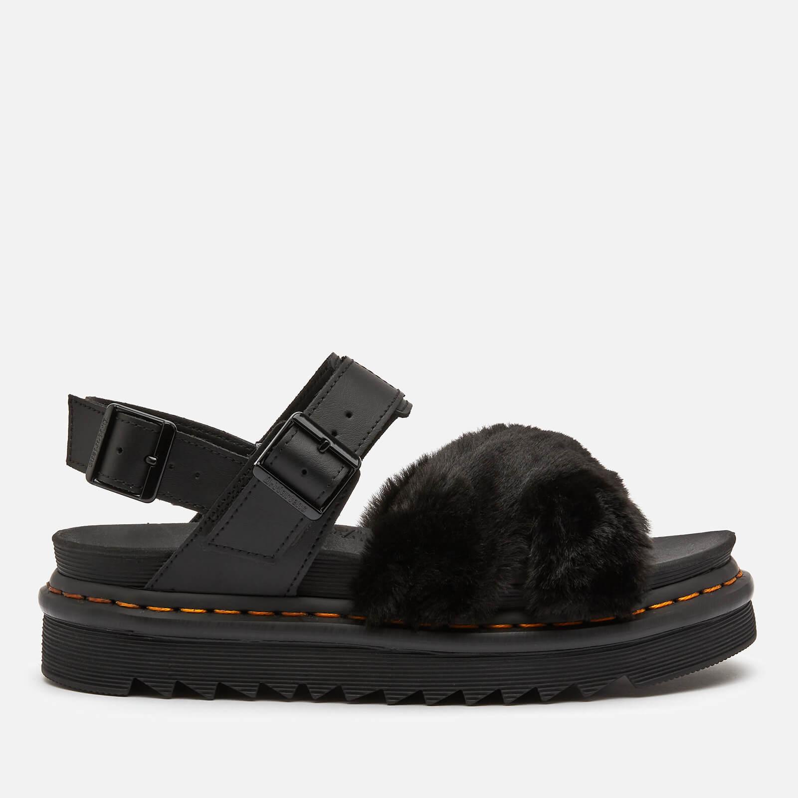 Dr. Martens Women's Voss Ii Fluffy Sandals - Black - UK 3