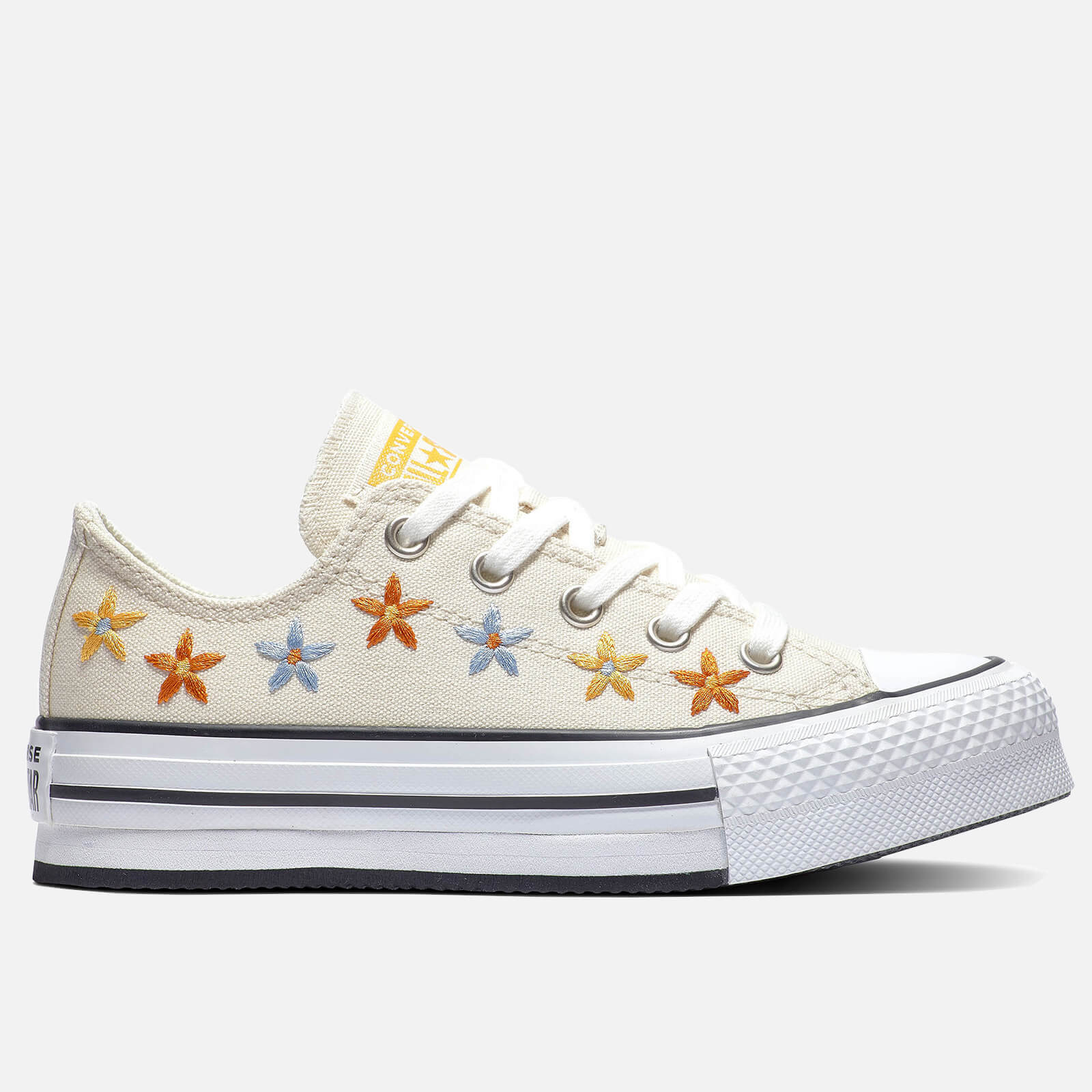 Converse Kids' Chuck Taylor All Star Digital Ox Floral Trainers - Natural Ivory/Egret - UK 10 Kids
