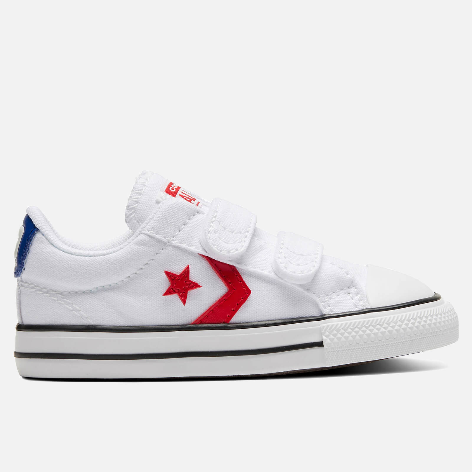 Converse Toddlers' Star Player Ox Velcro Trainers - White/University Red - UK 9 Kids