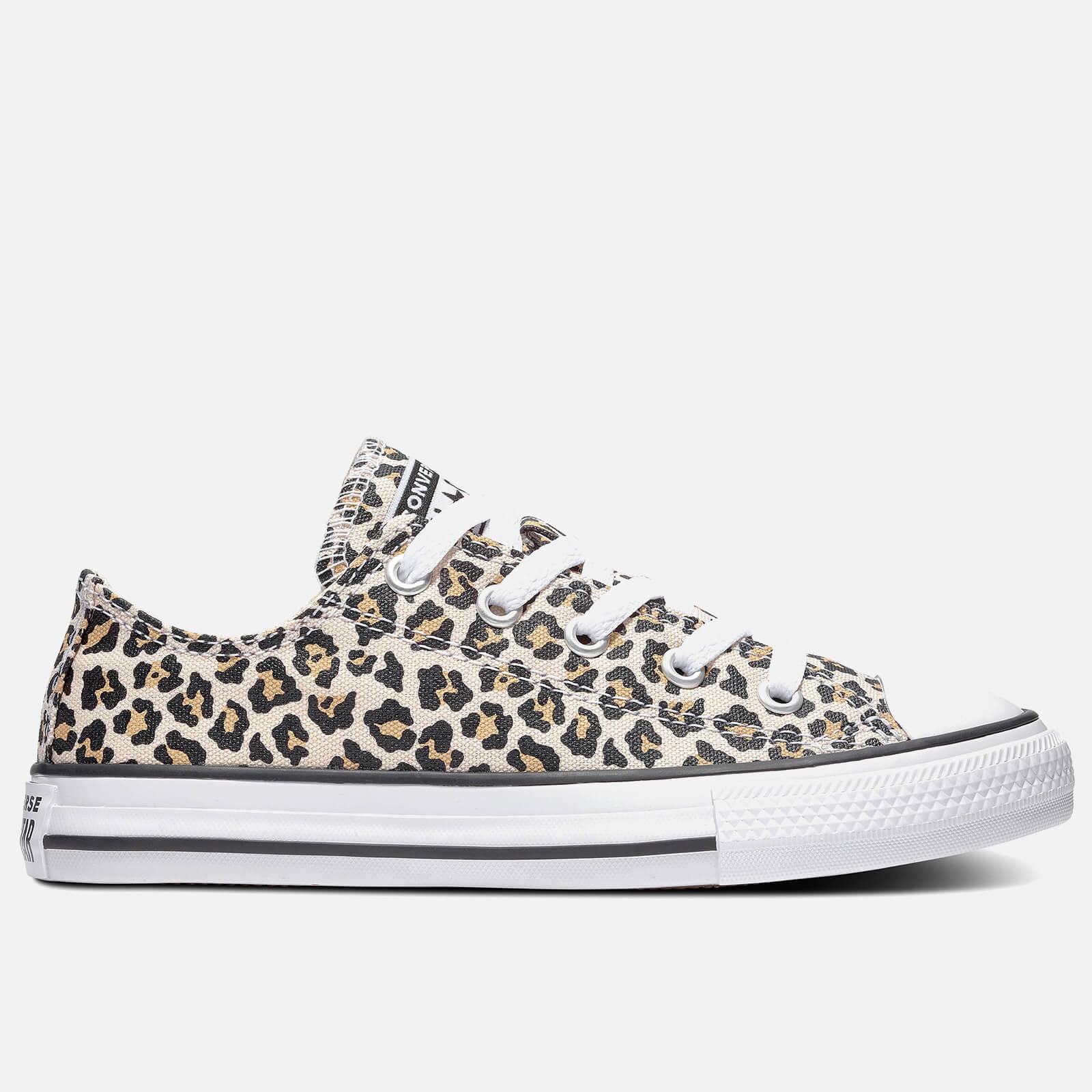 Converse Kids' Chuck Taylor All Star Leopard Print Ox Trainers - Black/Driftwood - UK 10 Kids