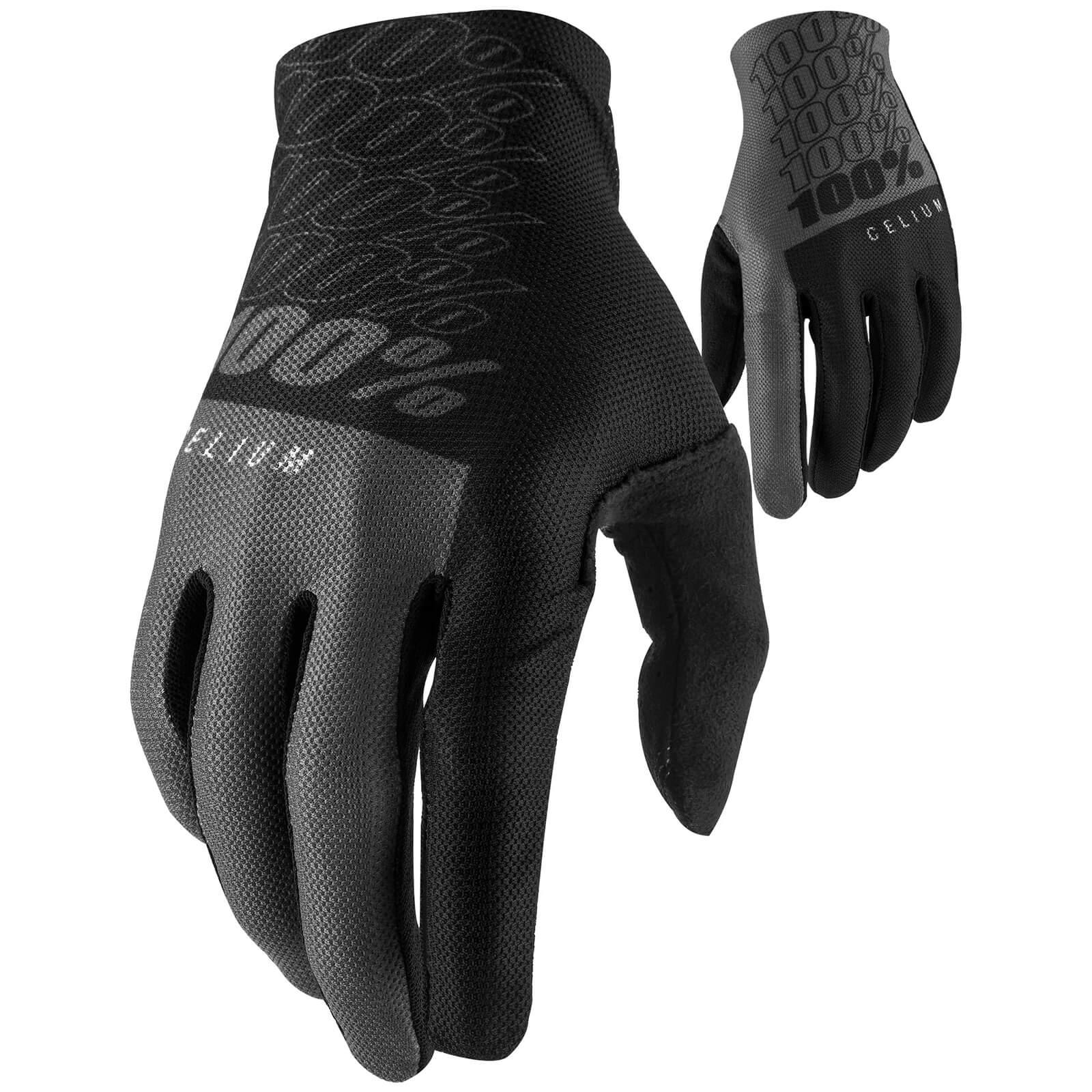 100% Celium MTB Gloves - L - Schwarz/Grau