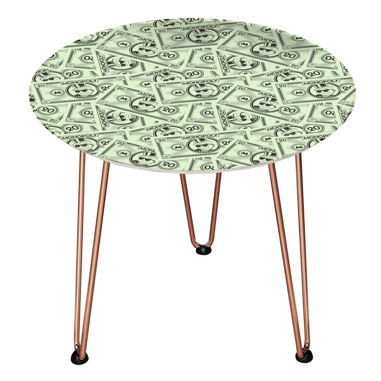 Decorsome Monopoly Money 20 Wooden Side Table - Rose gold