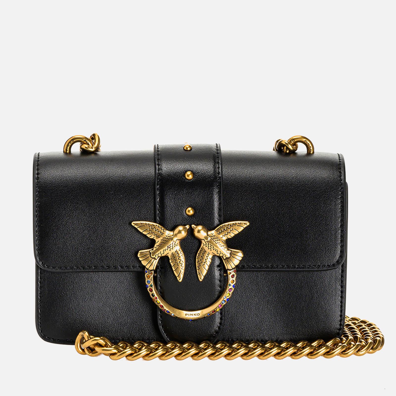 pinko women's love mini icon jewel shoulder bag - black