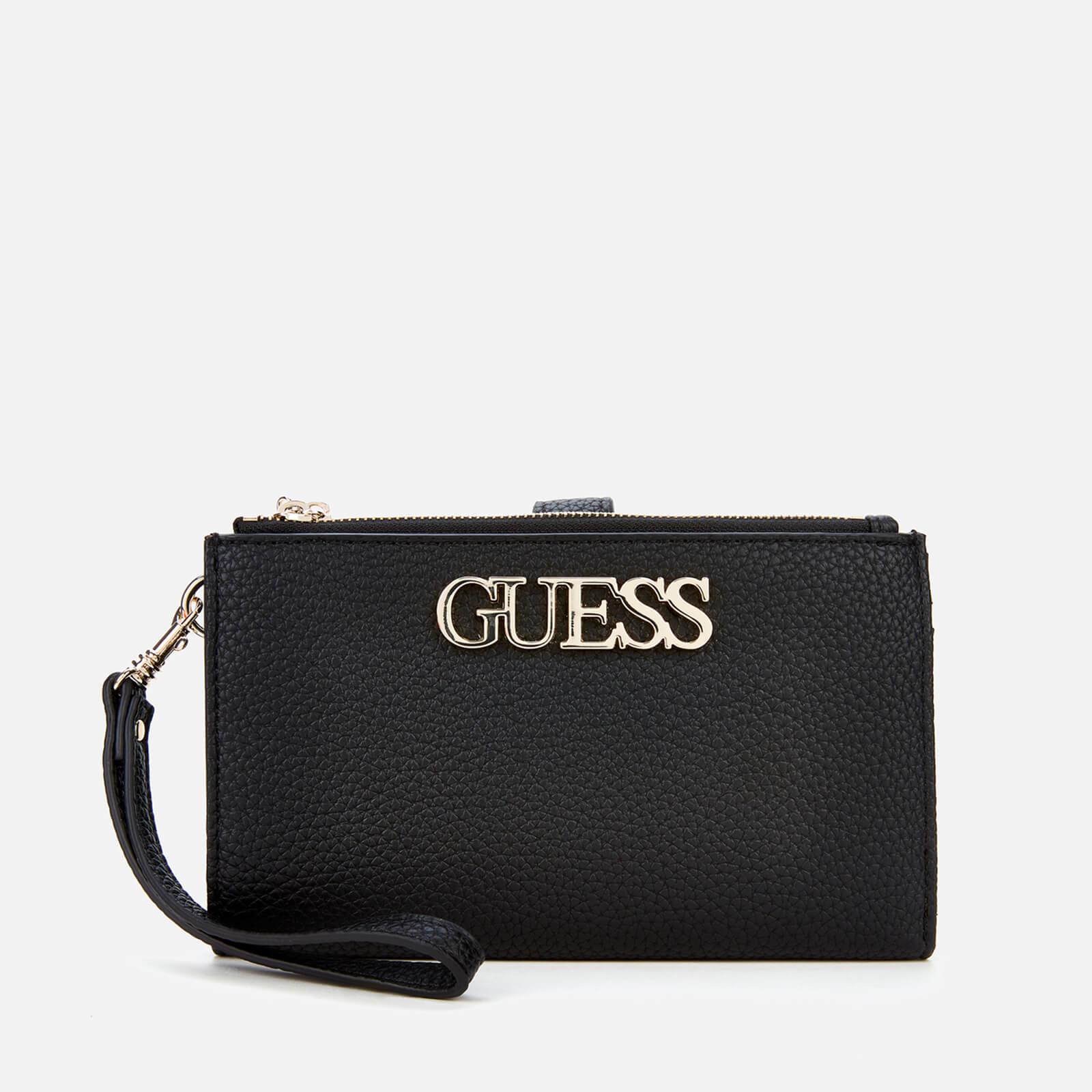 guess women's uptown chic double zip organizer wallet - black